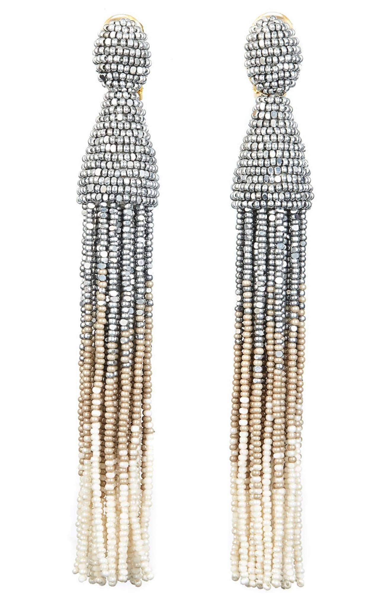 Ombré Long Tassel Clip Earrings,                         Main,                         color, 042