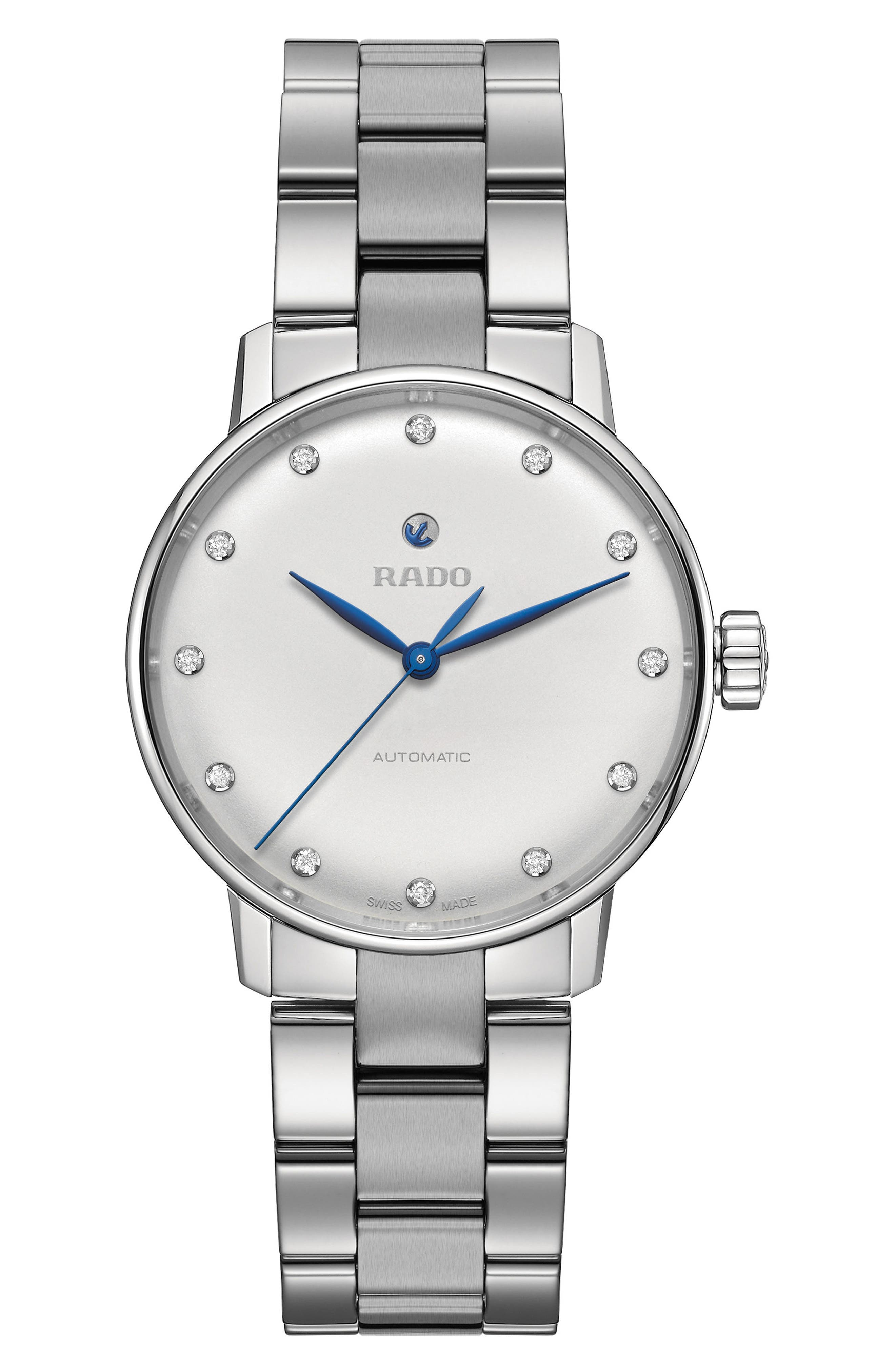 Coupole Classic Automatic Diamond Bracelet Watch, 31.8mm,                             Main thumbnail 1, color,                             SILVER