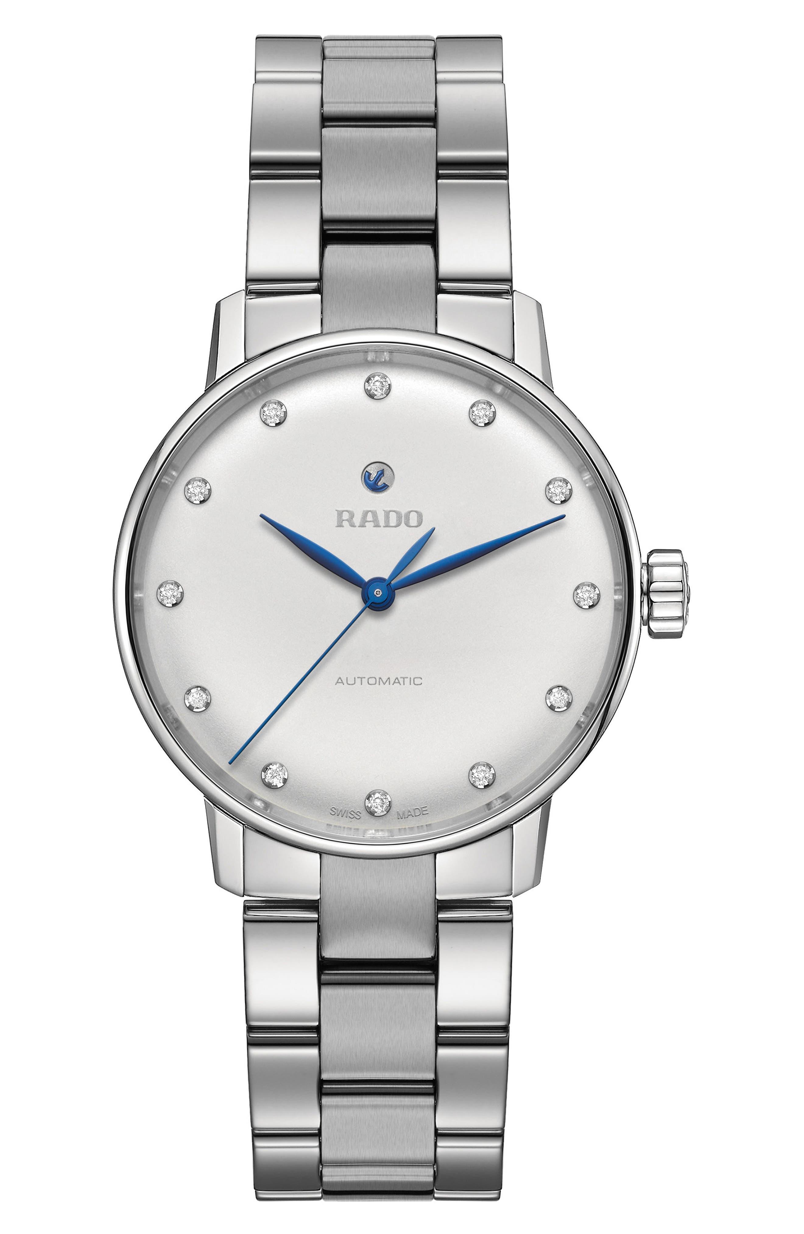 Coupole Classic Automatic Diamond Bracelet Watch, 31.8mm,                         Main,                         color, SILVER