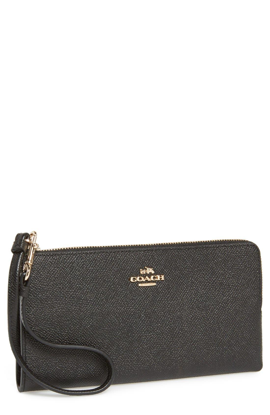 'Zippy' Leather Wallet, Main, color, 001