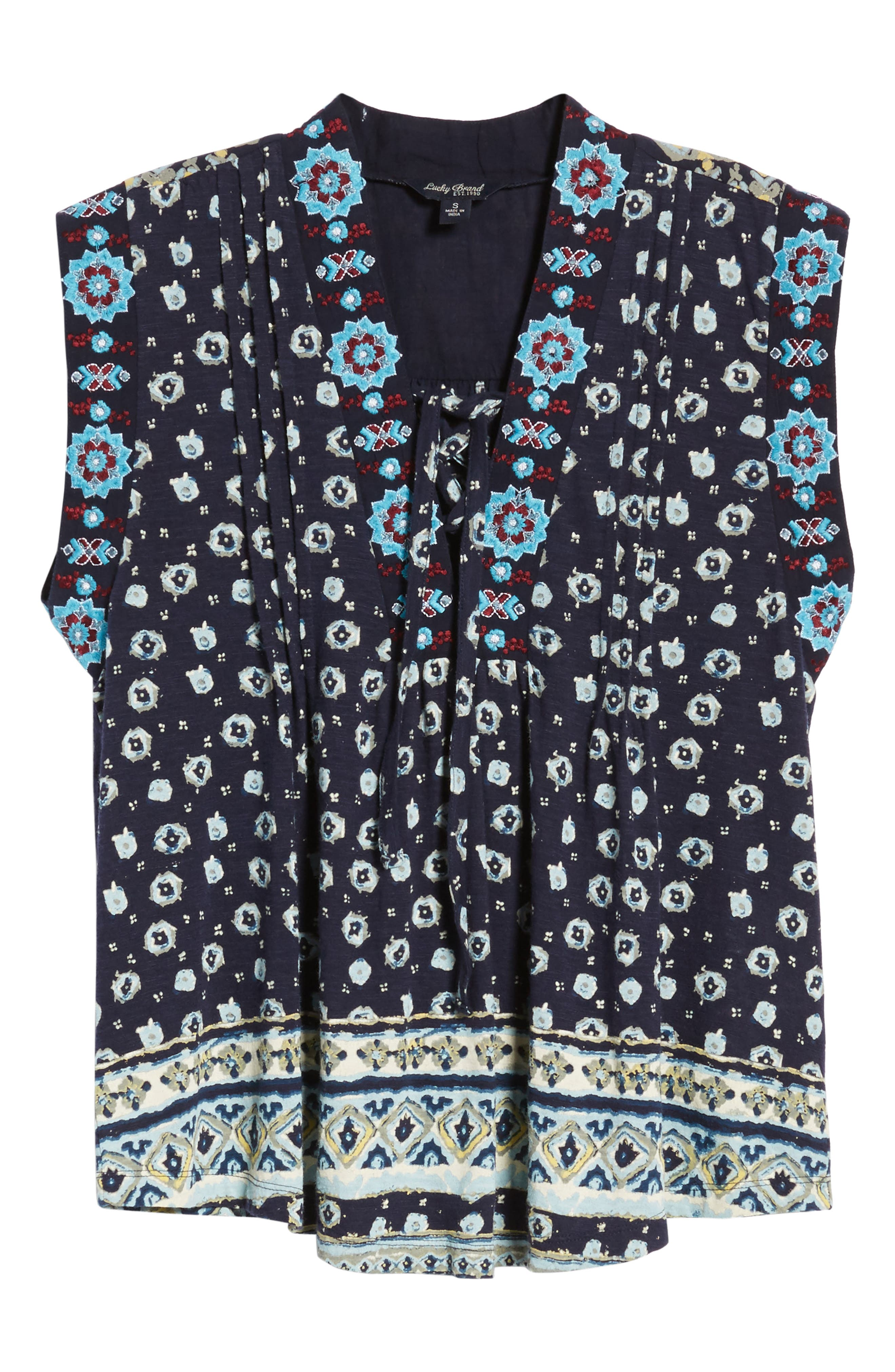 Lace-Up Printed Top,                             Alternate thumbnail 6, color,                             400