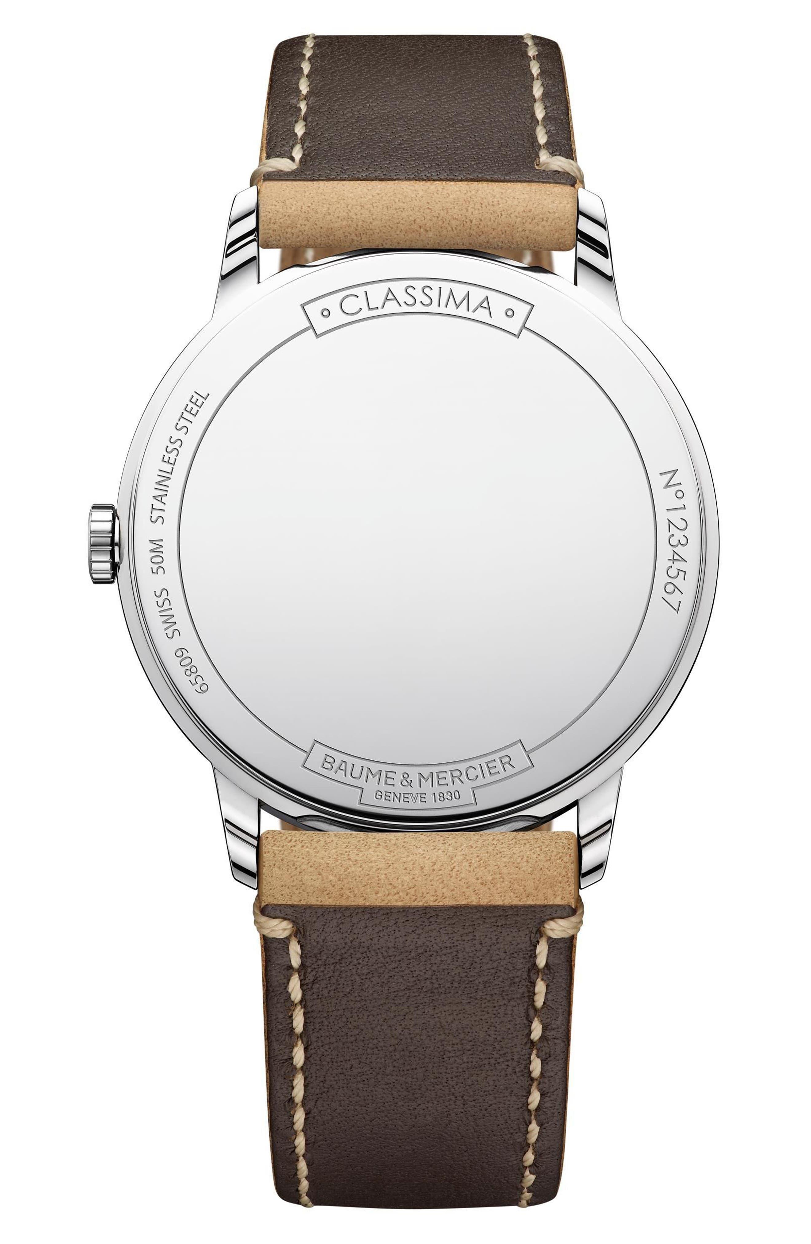 Baume & Mercier Classima Leather Strap Watch, 40mm,                             Alternate thumbnail 2, color,                             SILVER/ BLUE/ TAN
