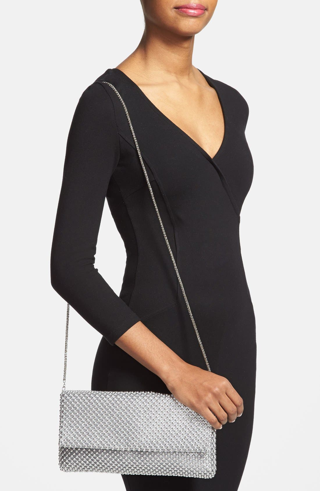 Beaded Mesh Clutch,                             Alternate thumbnail 2, color,                             SILVER