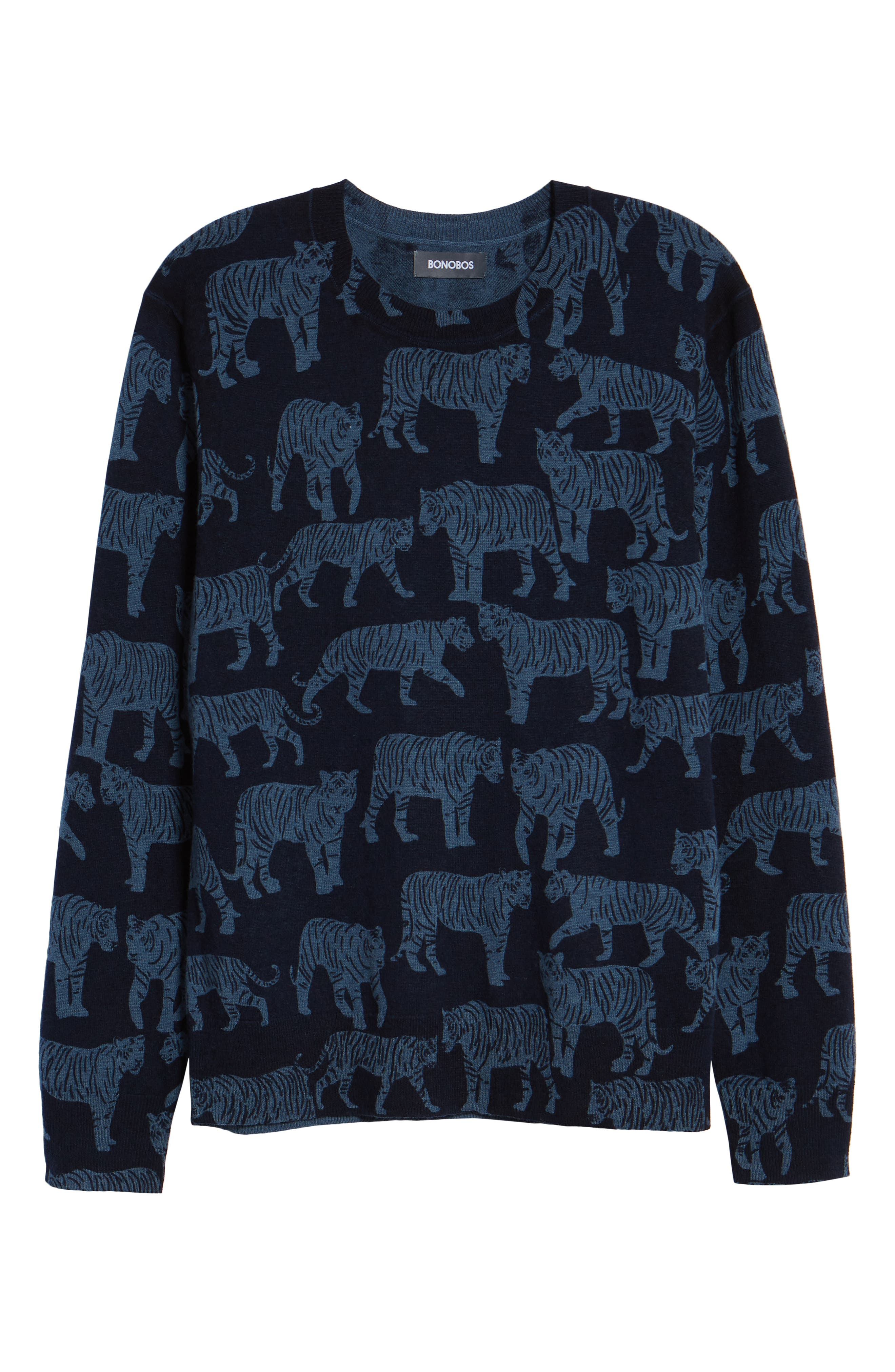 Slim Fit Tiger Print Sweater,                             Alternate thumbnail 6, color,                             NIGHTSHADOW/ FADED NAVY TIGRE
