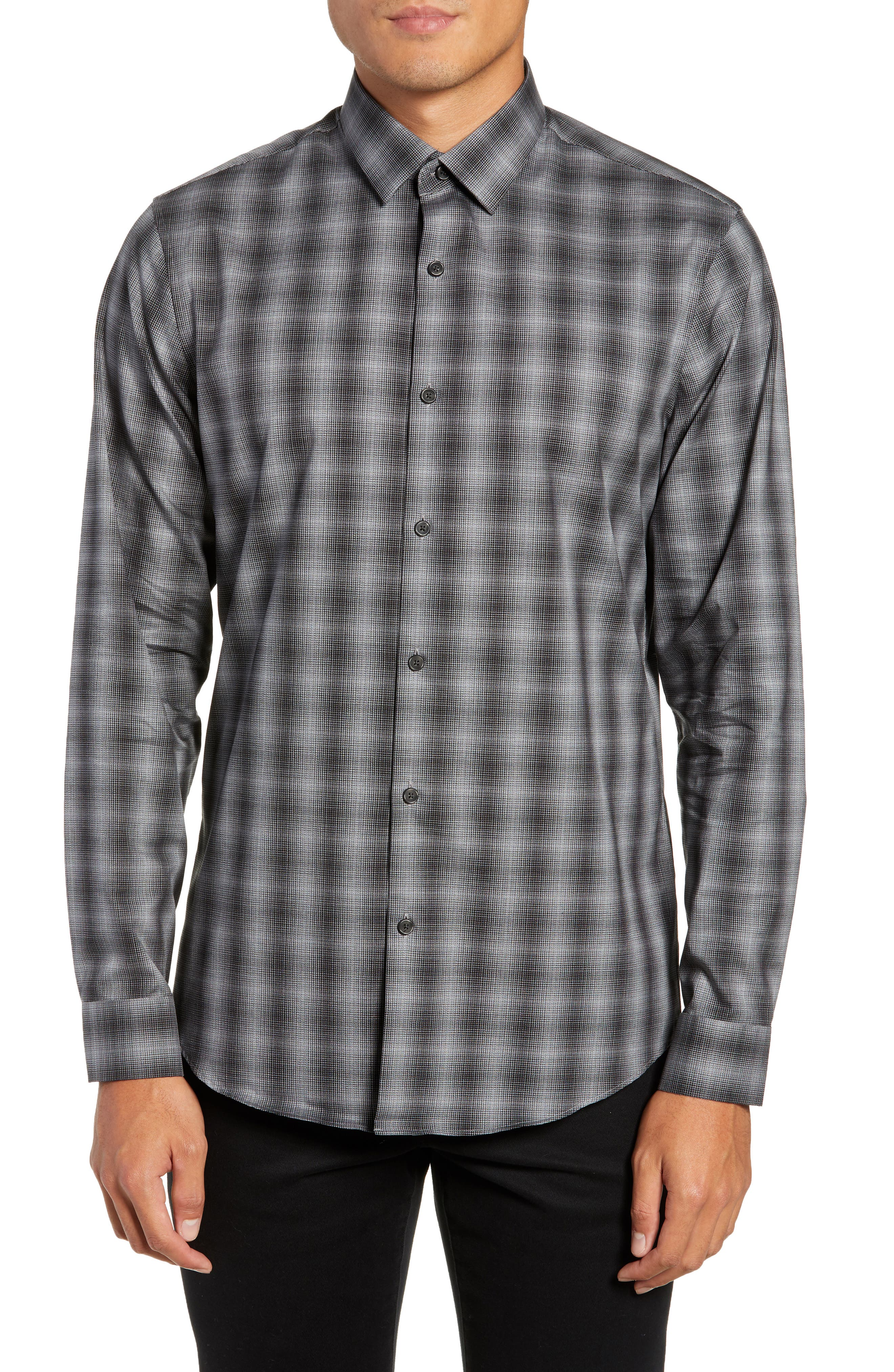 Mini Collar Nep Plaid Sport Shirt, Main, color, BLACK GREY SHADOW PLAID