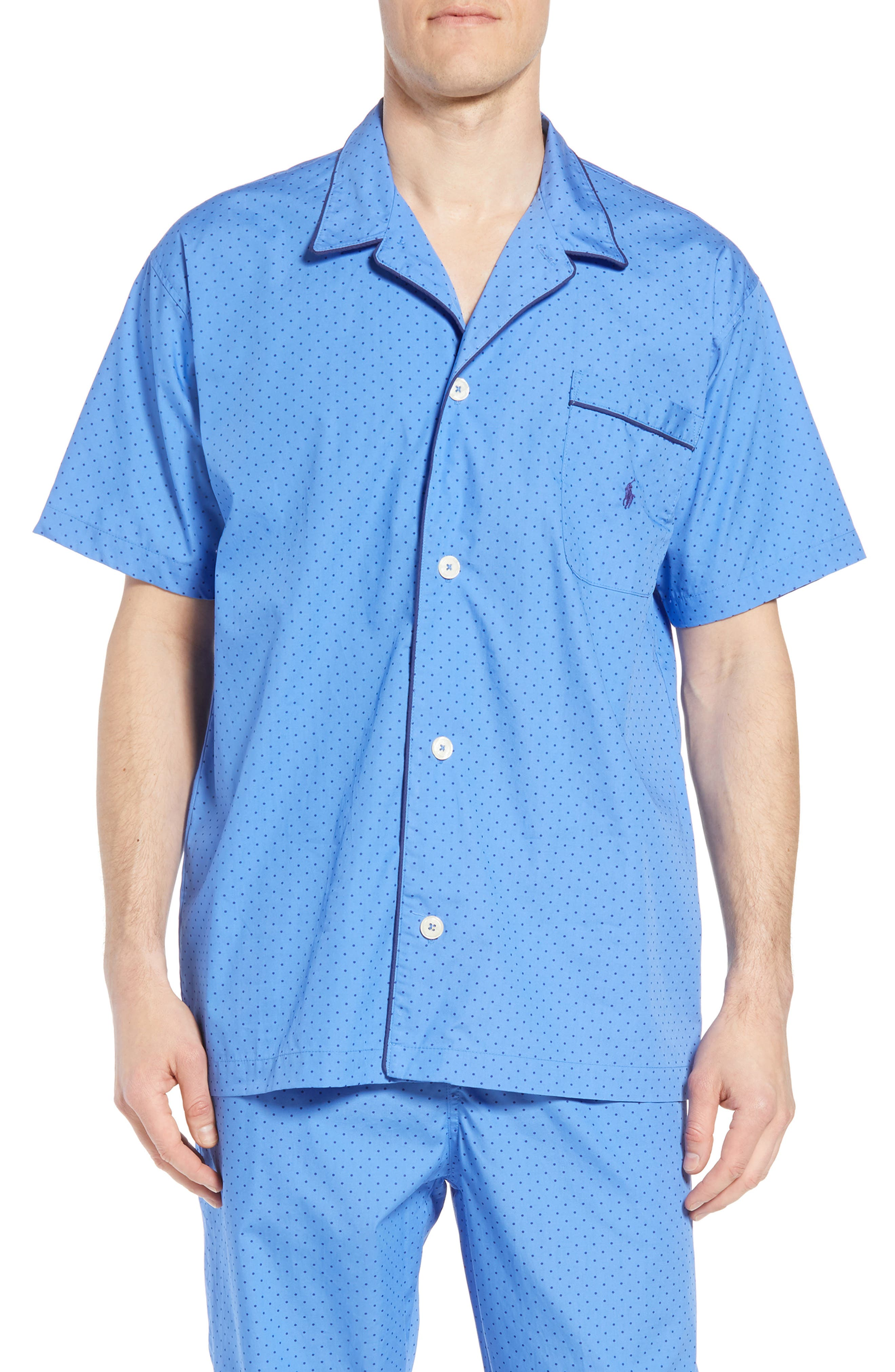 POLO RALPH LAUREN,                             Dot Cotton Pajama Shirt,                             Main thumbnail 1, color,                             451