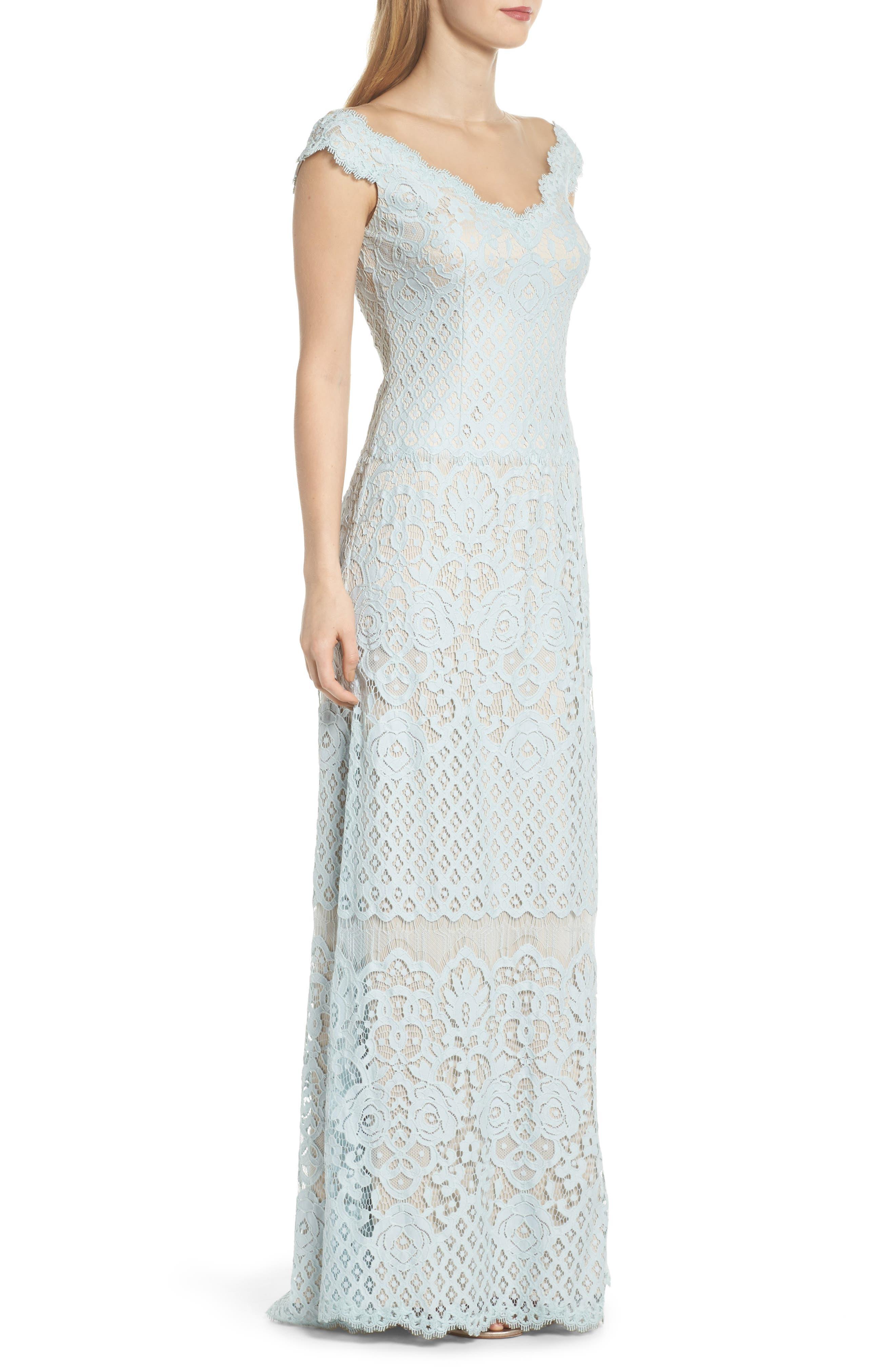 Illusion Neck Lace Column Gown,                             Alternate thumbnail 3, color,                             400