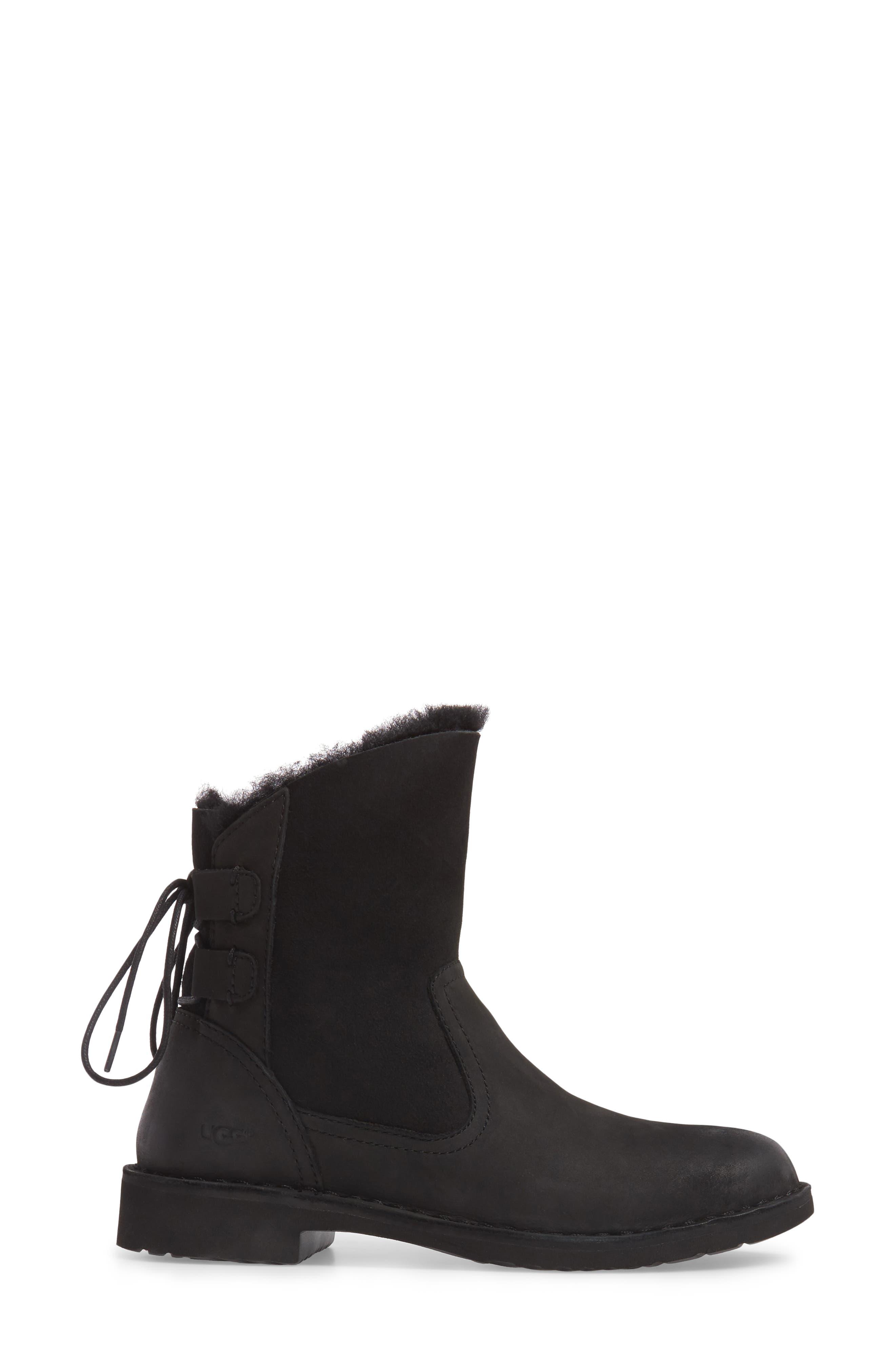 Naiyah Lace-Back Genuine Shearling Boot,                             Alternate thumbnail 3, color,                             BLACK/ BLACK NUBUCK LEATHER