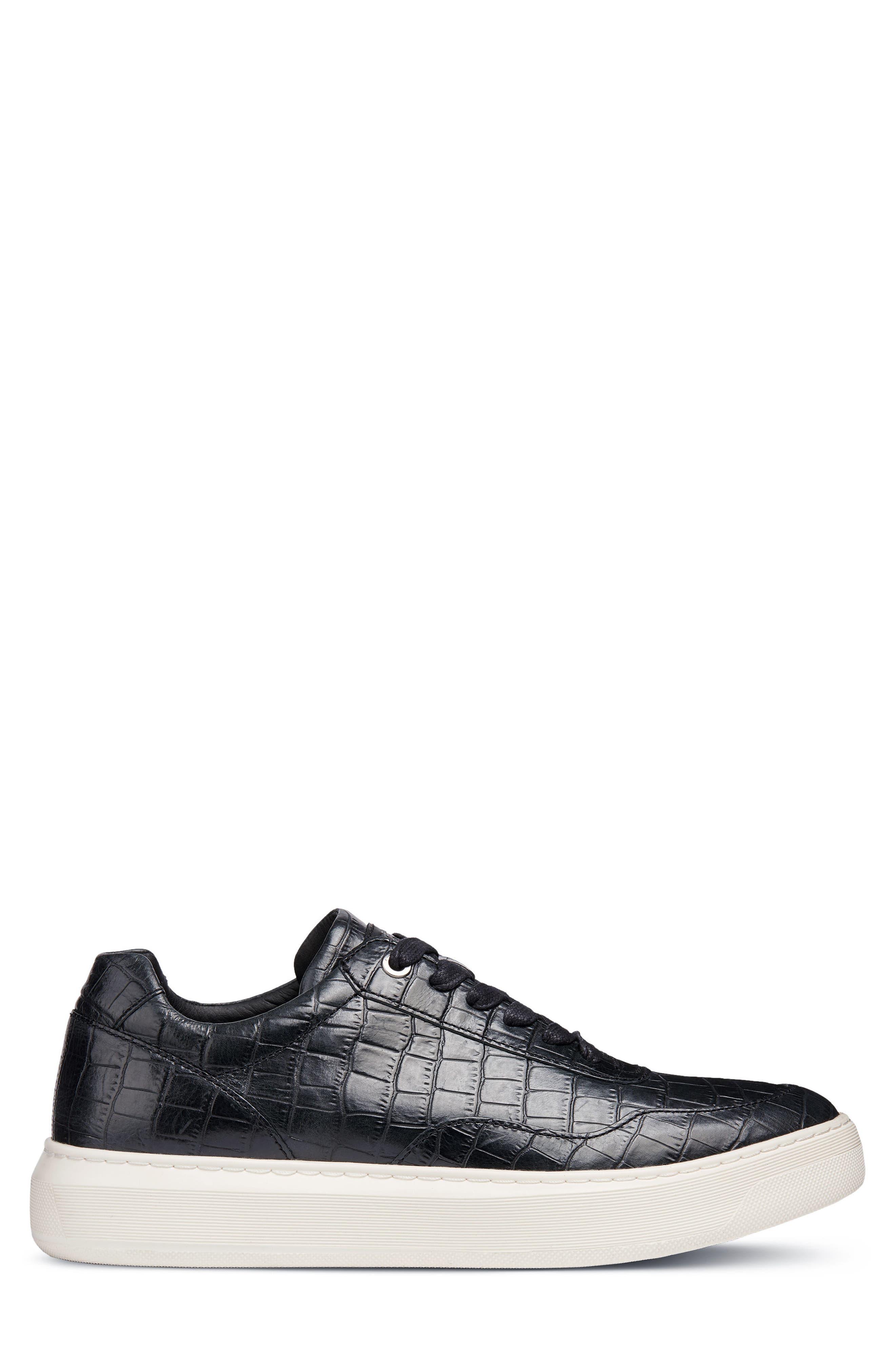 Deiven 8 Croc Textured Low Top Sneaker,                             Alternate thumbnail 3, color,                             BLACK LEATHER