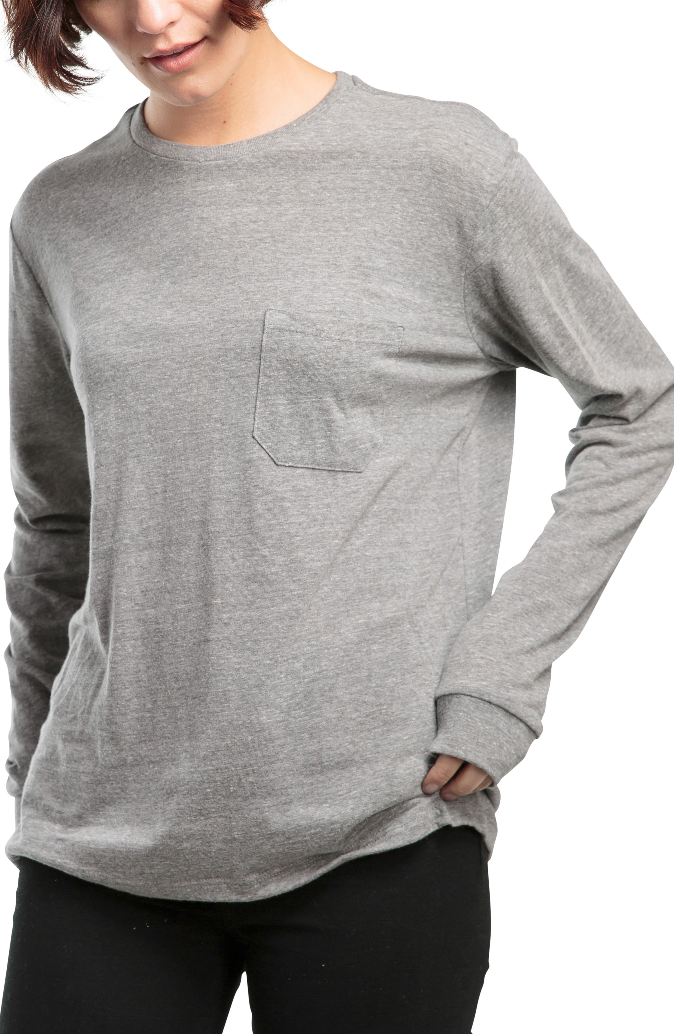 Long Sleeve Pocket Tee,                             Main thumbnail 1, color,                             HEATHER GREY