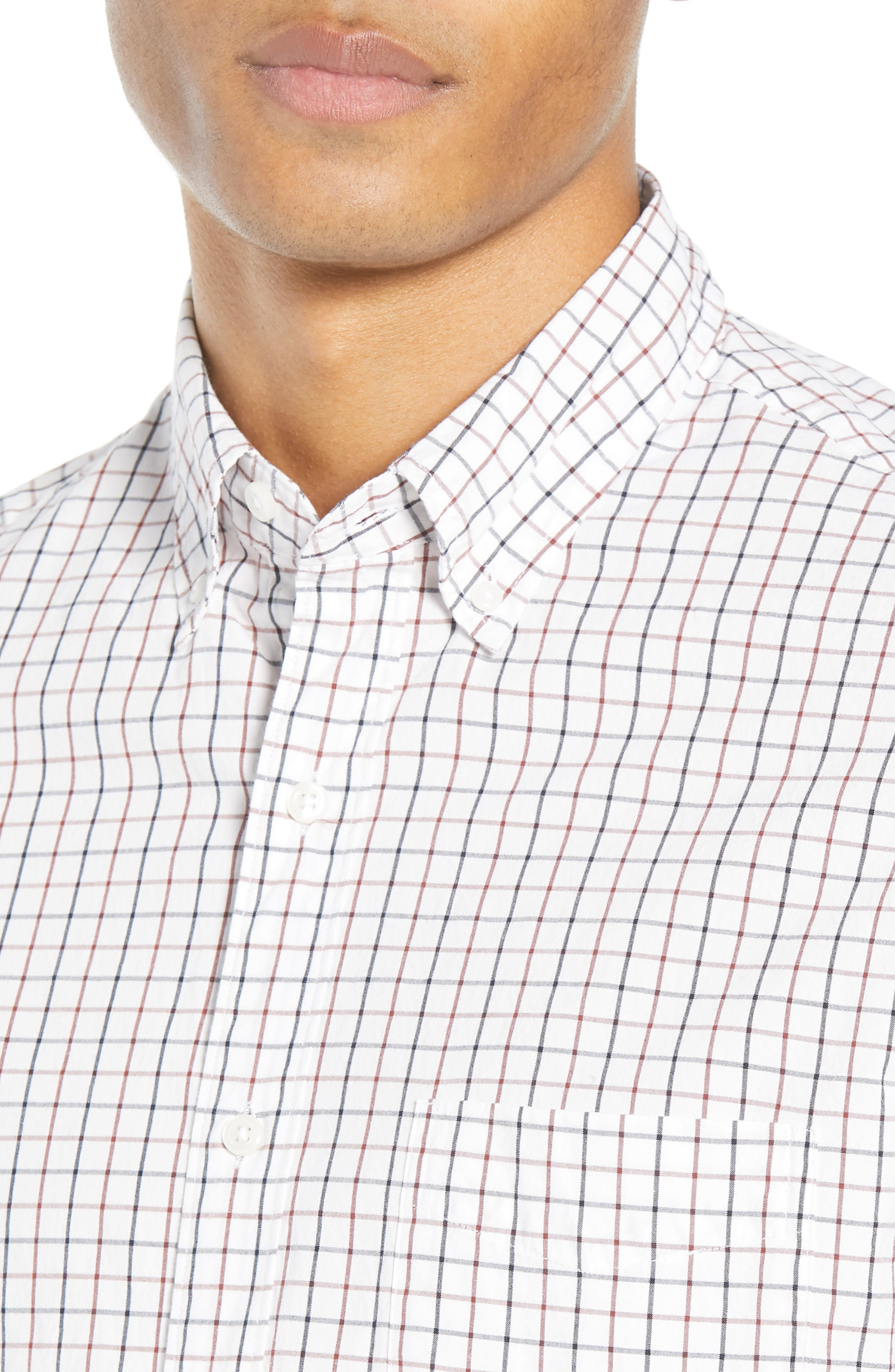 Slim Fit Stretch Secret Wash Stripe Tattersall Sport Shirt,                             Alternate thumbnail 2, color,                             NAVY MAHOGANY