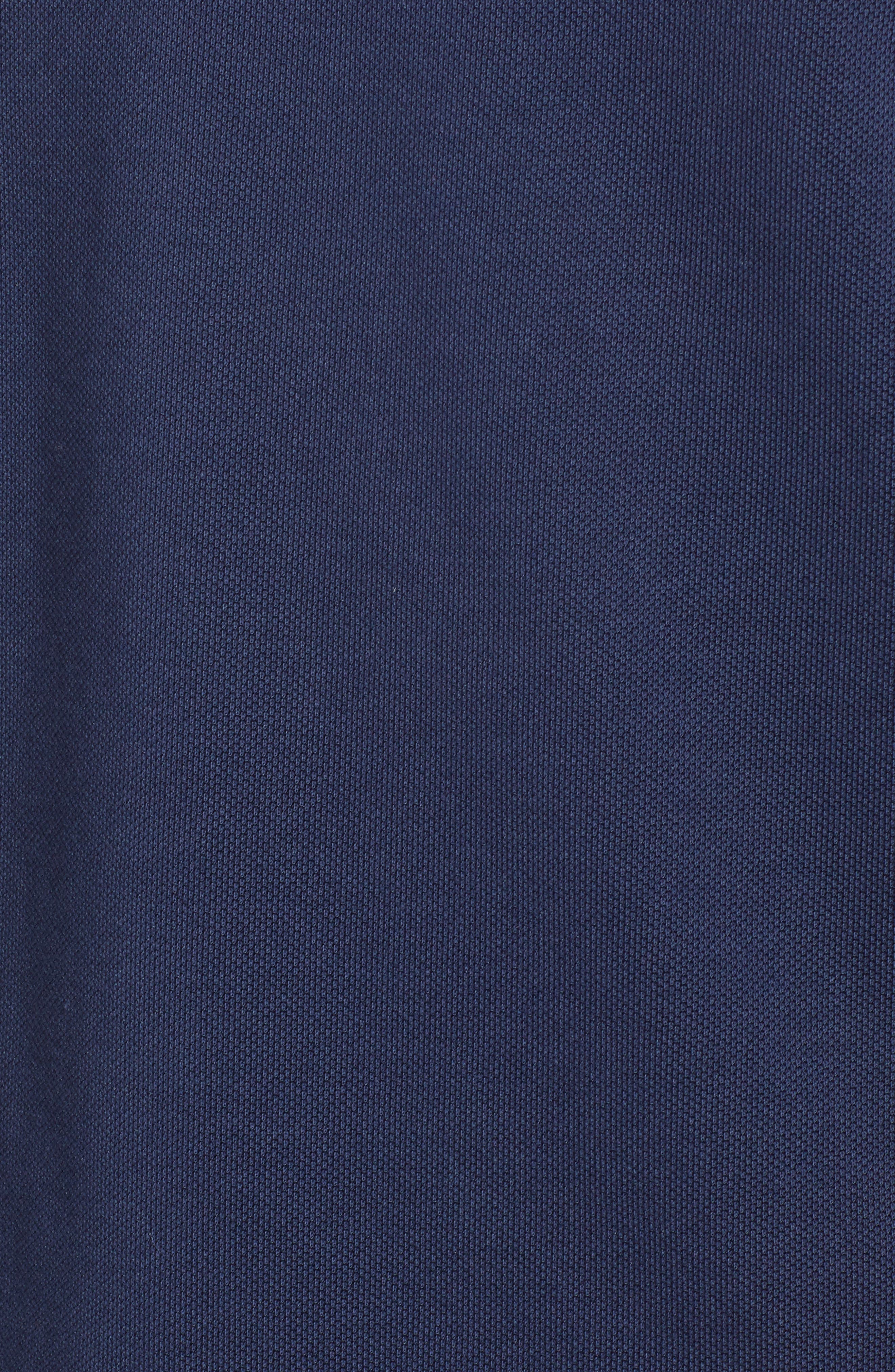 Piqué Cotton Blend Polo,                             Alternate thumbnail 5, color,                             WHITE/ NAVY BLUE