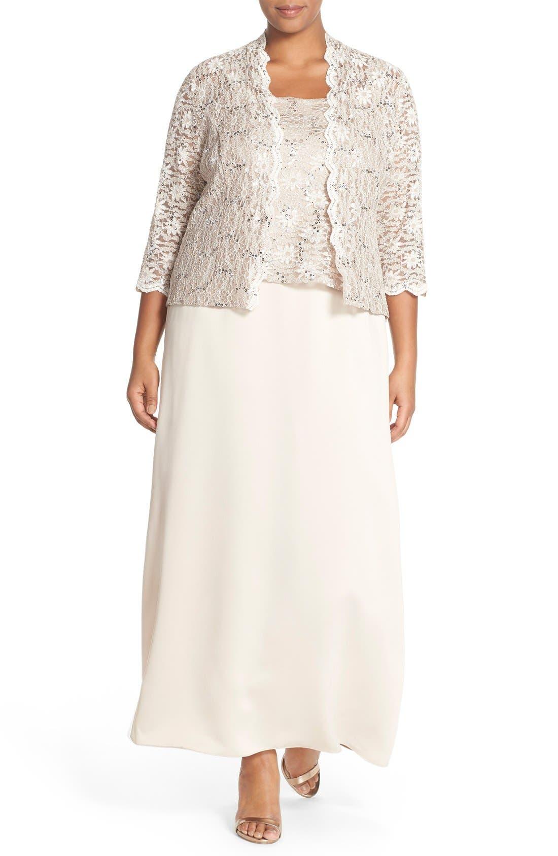 Alex Evening A-Line Gown & Lace Jacket,                         Main,                         color,