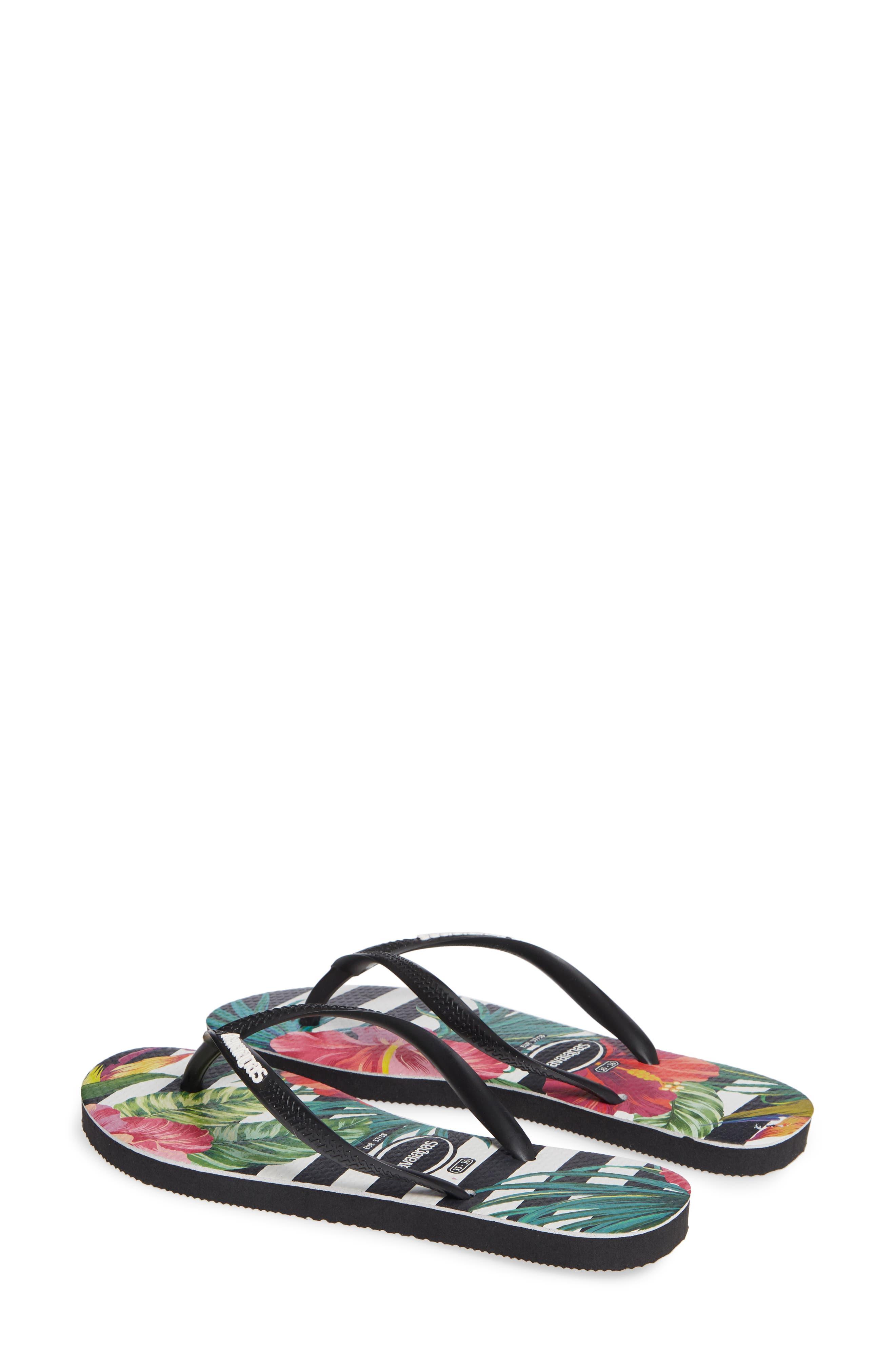Slim Tropical Floral Flip Flop,                             Alternate thumbnail 3, color,                             BLACK/ WHITE