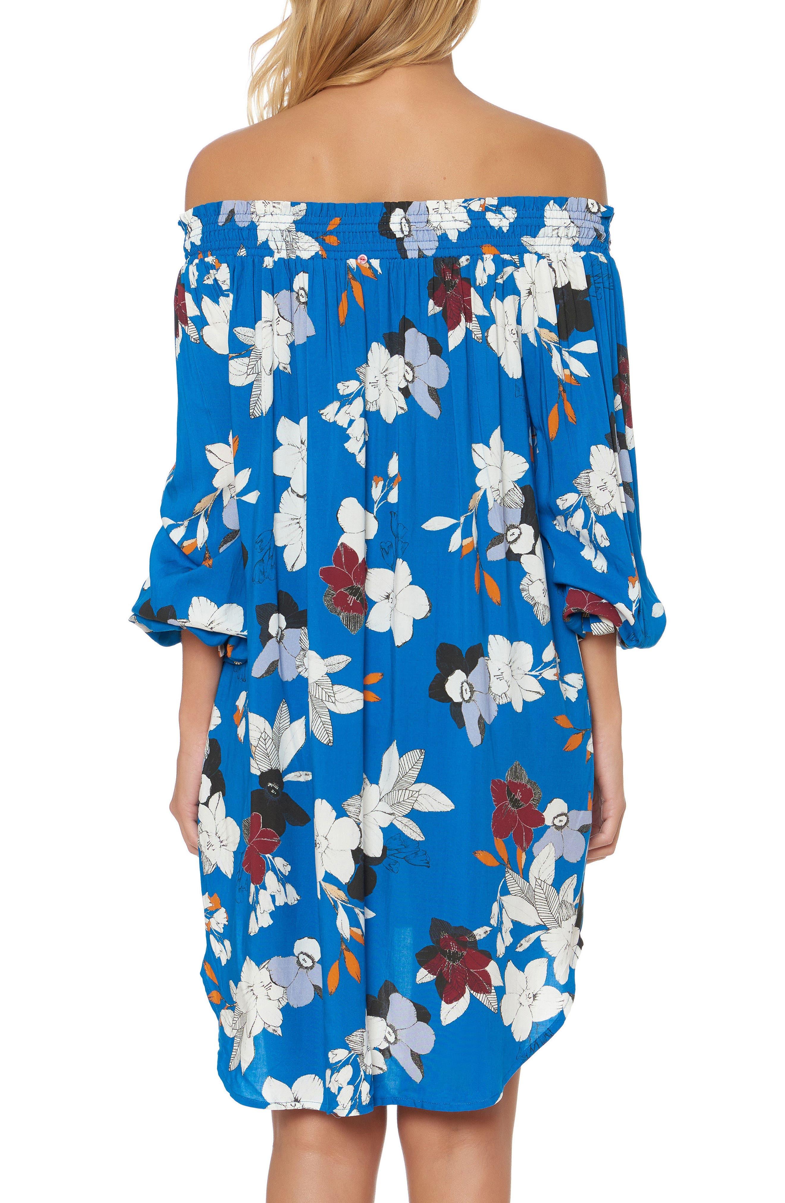 Floral Off the Shoulder Cover-Up Dress,                             Alternate thumbnail 2, color,                             VISION