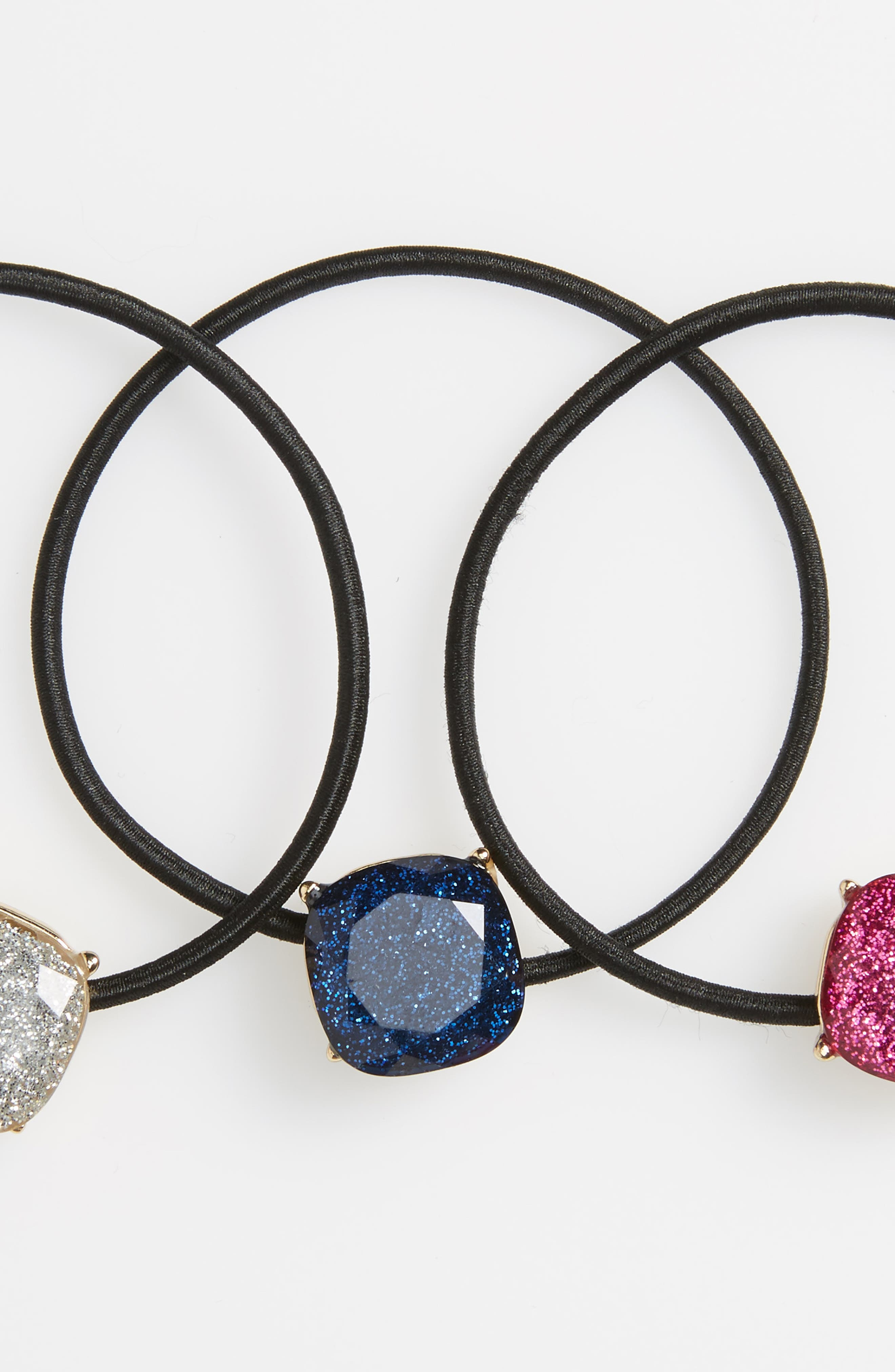 Set of 3 Glitter Charm Ponytail Holders,                             Alternate thumbnail 3, color,                             001