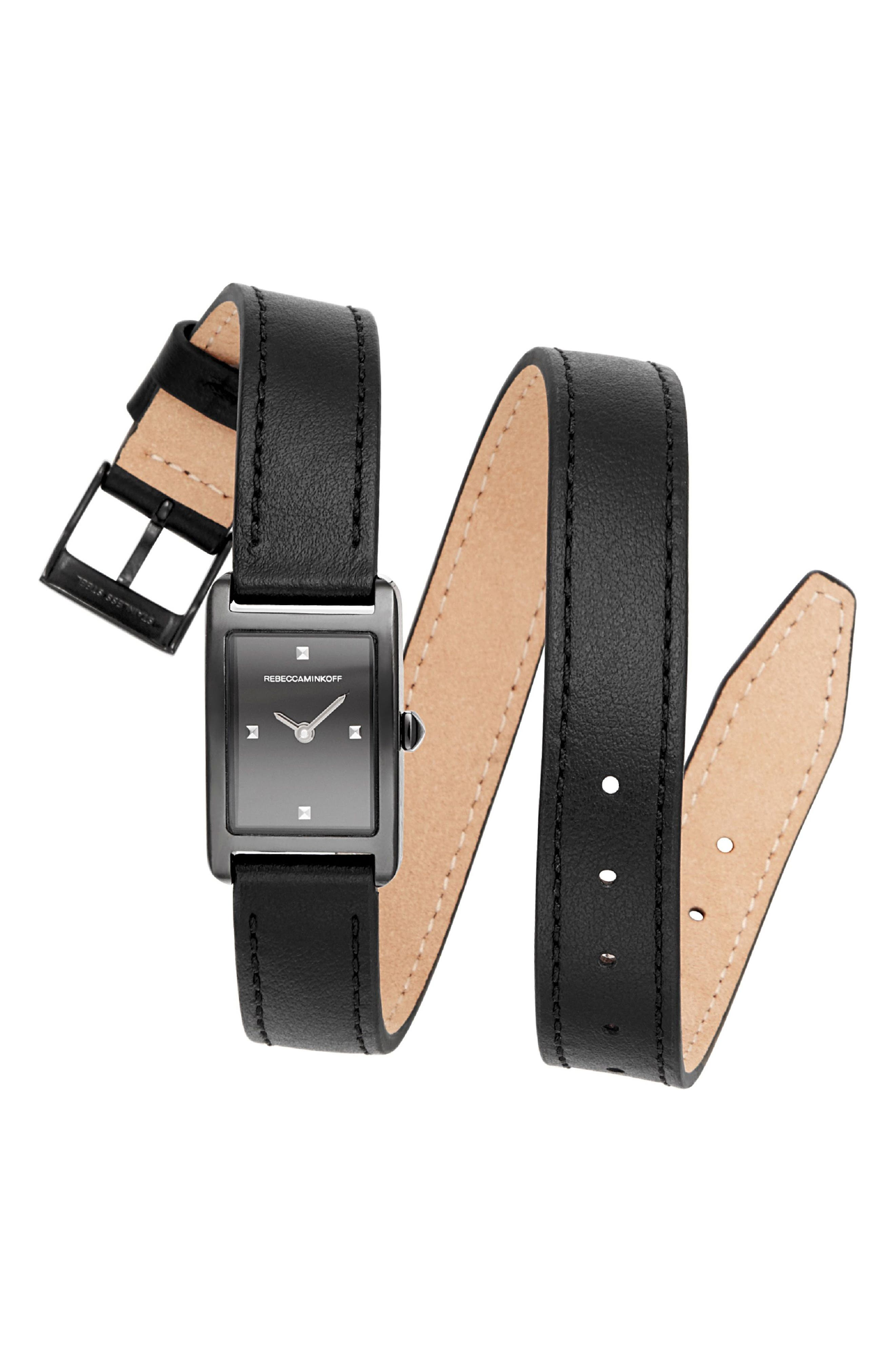 Moment Wrap Leather Strap Watch, 19mm x 30mm,                             Main thumbnail 1, color,                             BLACK