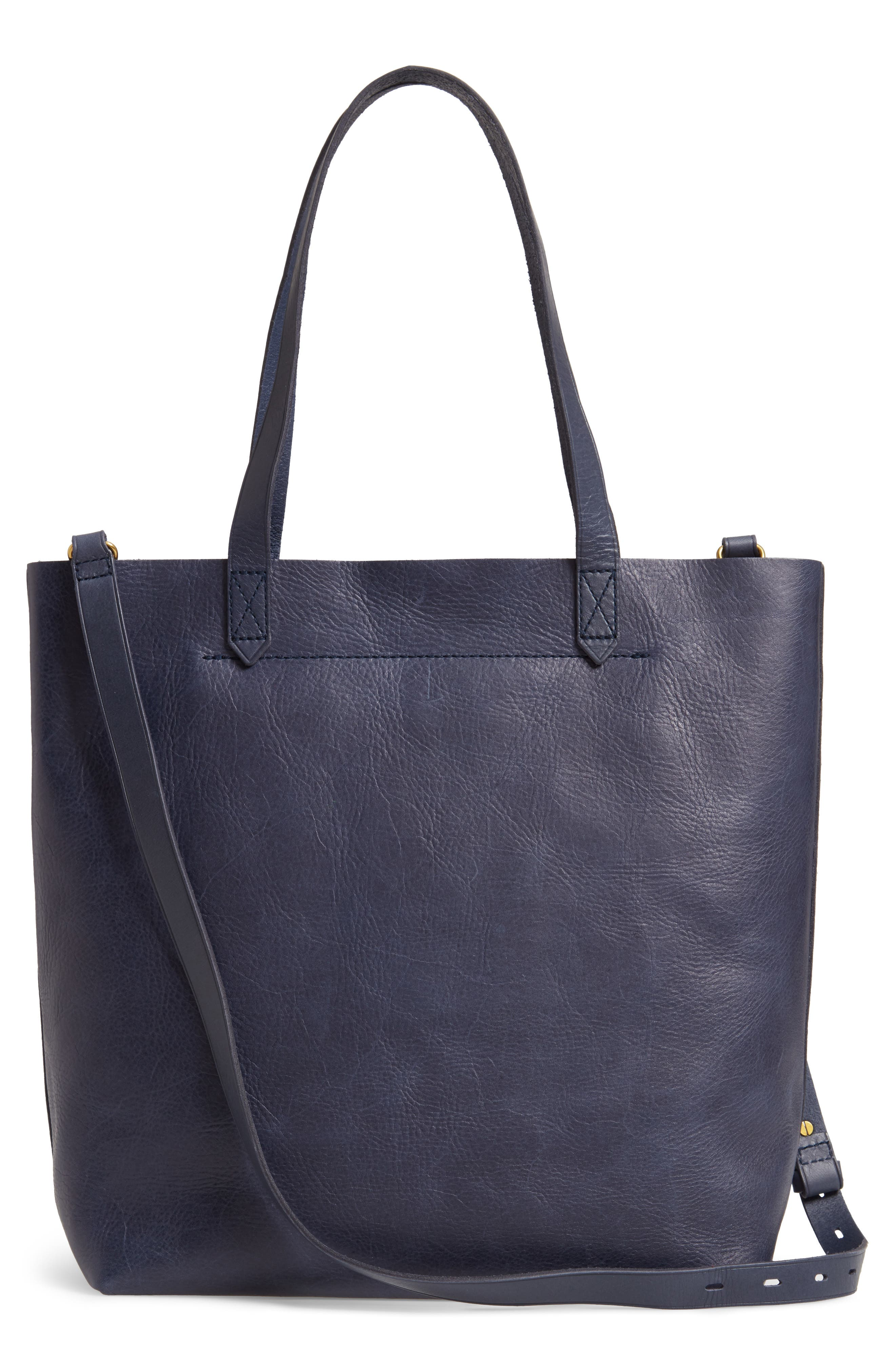 Medium Leather Transport Tote,                             Alternate thumbnail 3, color,                             DEEP NAVY
