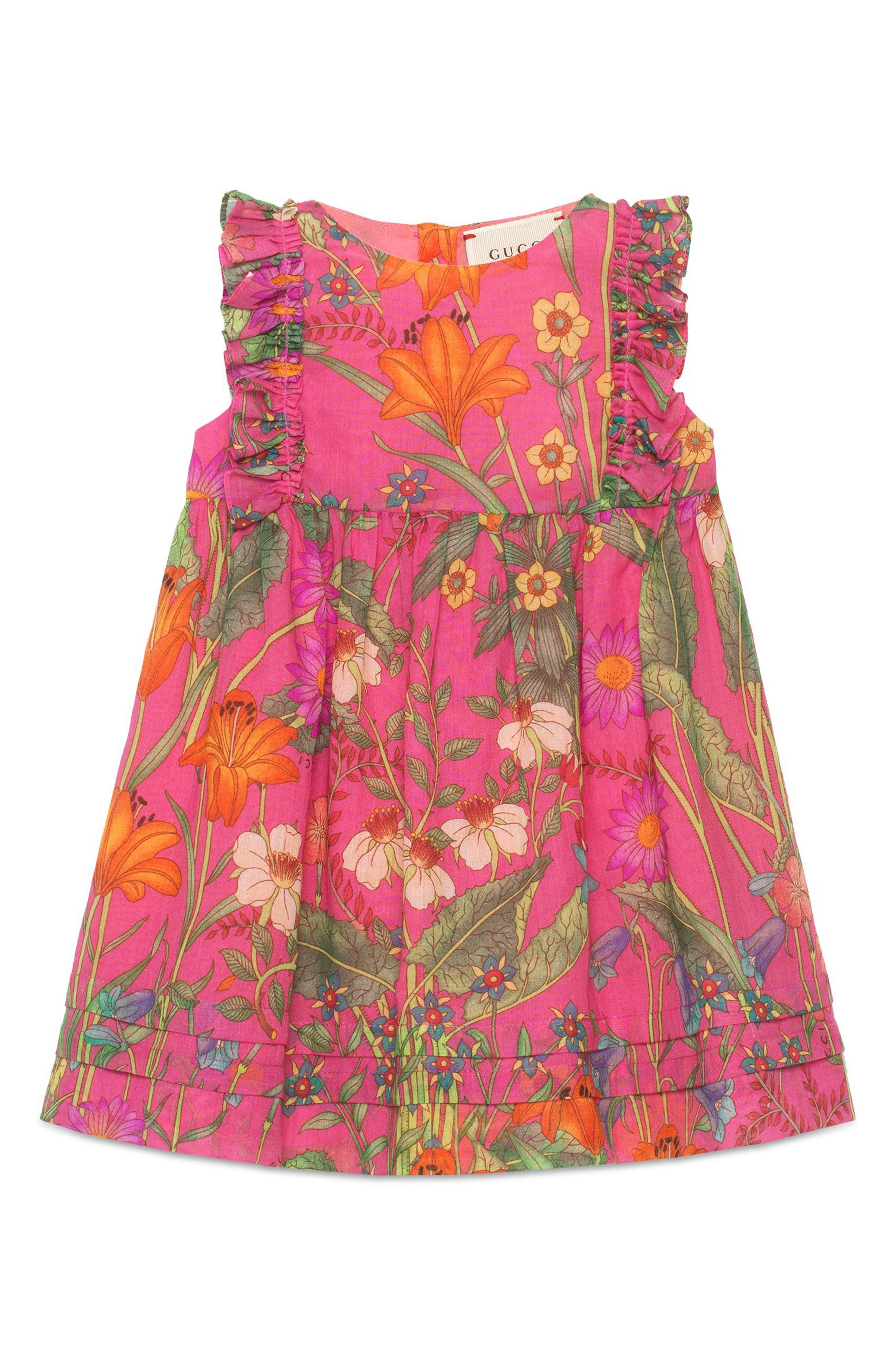 Floral Print Sleeveless Dress,                         Main,                         color, POWER ROSE