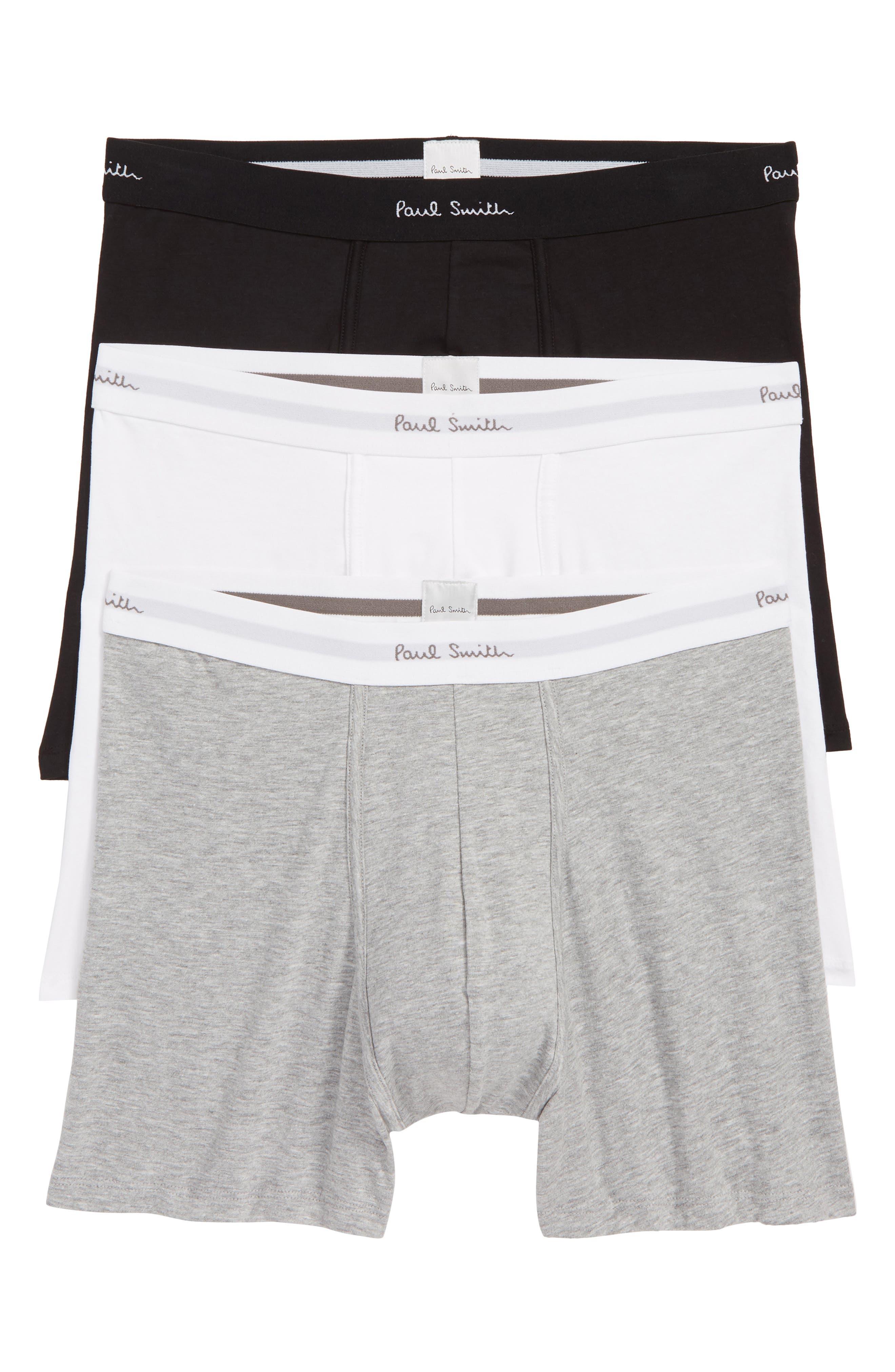 PAUL SMITH,                             3-Pack Trunks,                             Main thumbnail 1, color,                             BLACK/ WHITE/ GREY
