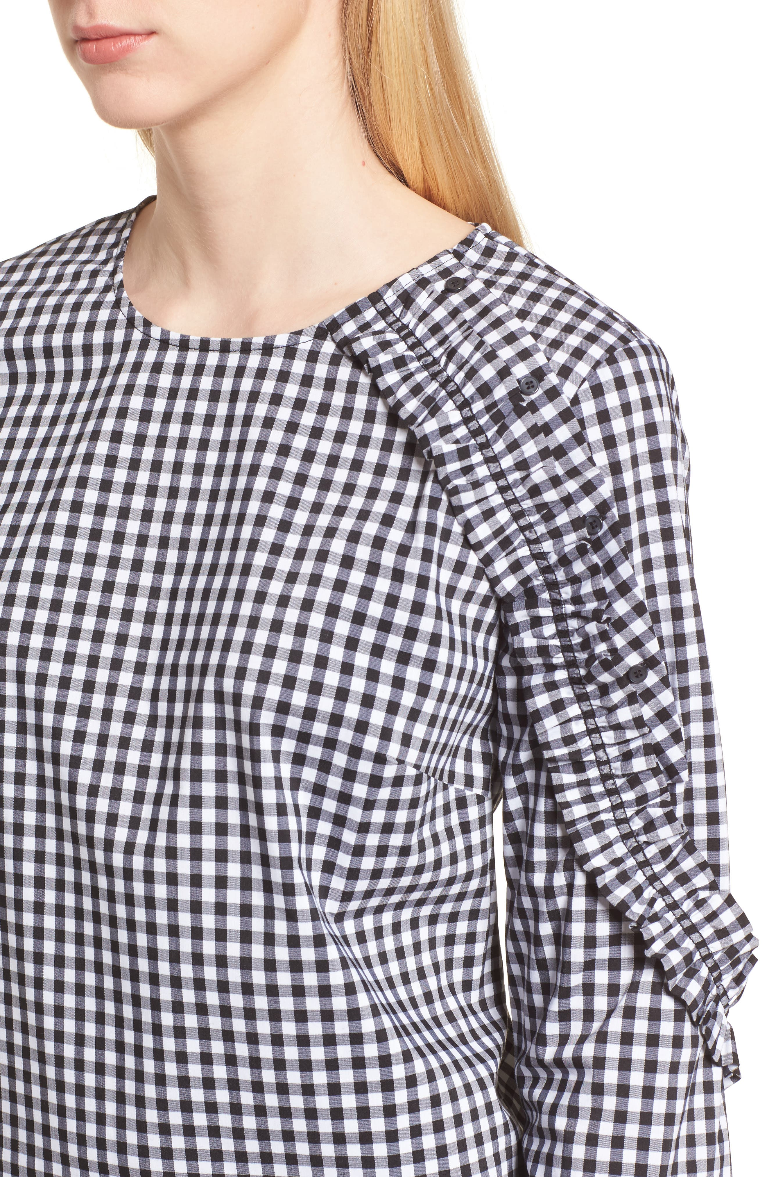Ruffle Detail Poplin Shirt,                             Alternate thumbnail 4, color,                             001