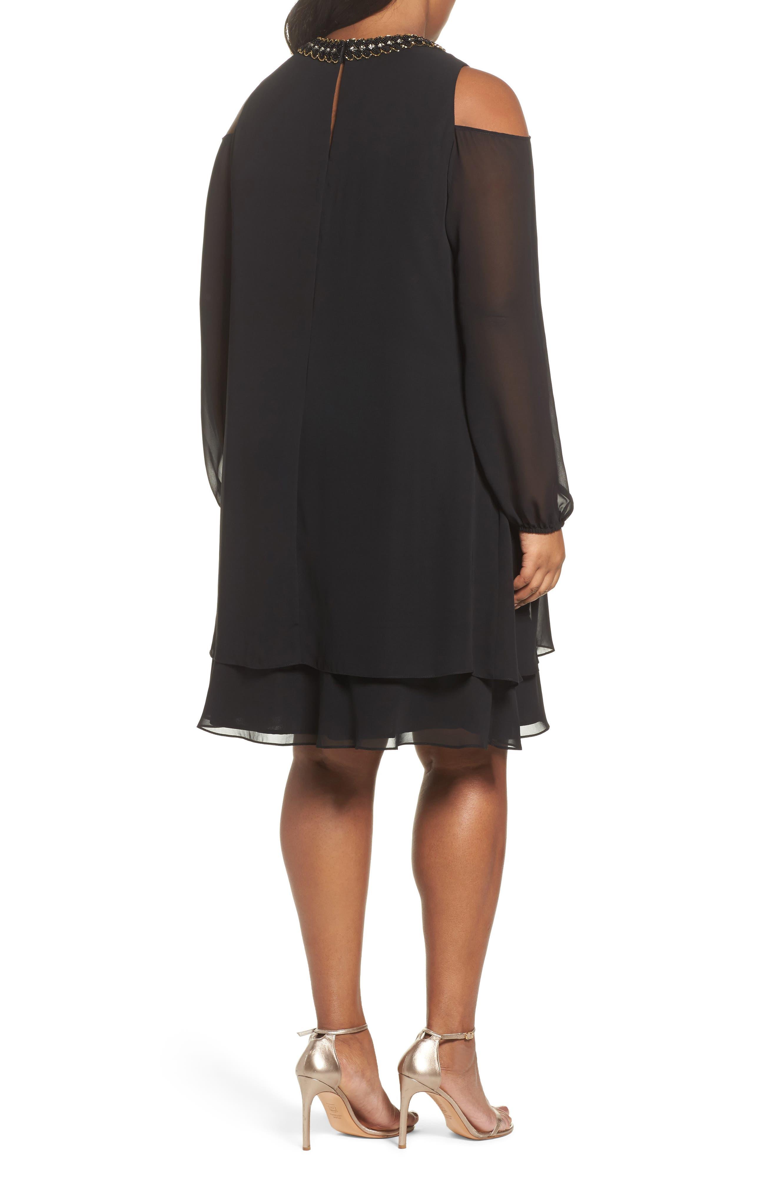 Embellished Cold Shoulder Shift Dress,                             Alternate thumbnail 2, color,                             011