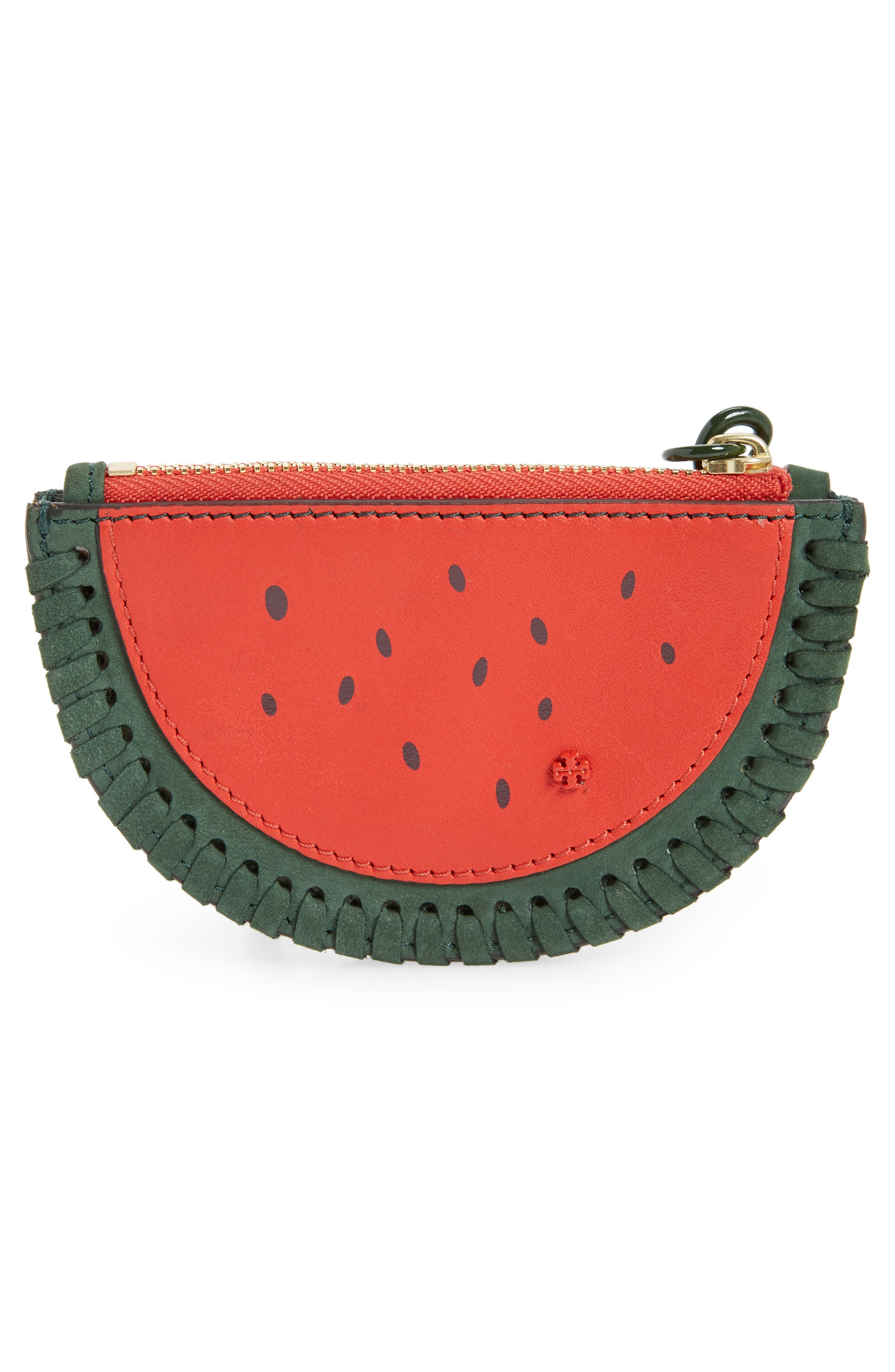 Watermelon Leather Coin Pouch,                             Alternate thumbnail 2, color,                             BANYAN GREEN / POPPY ORANGE