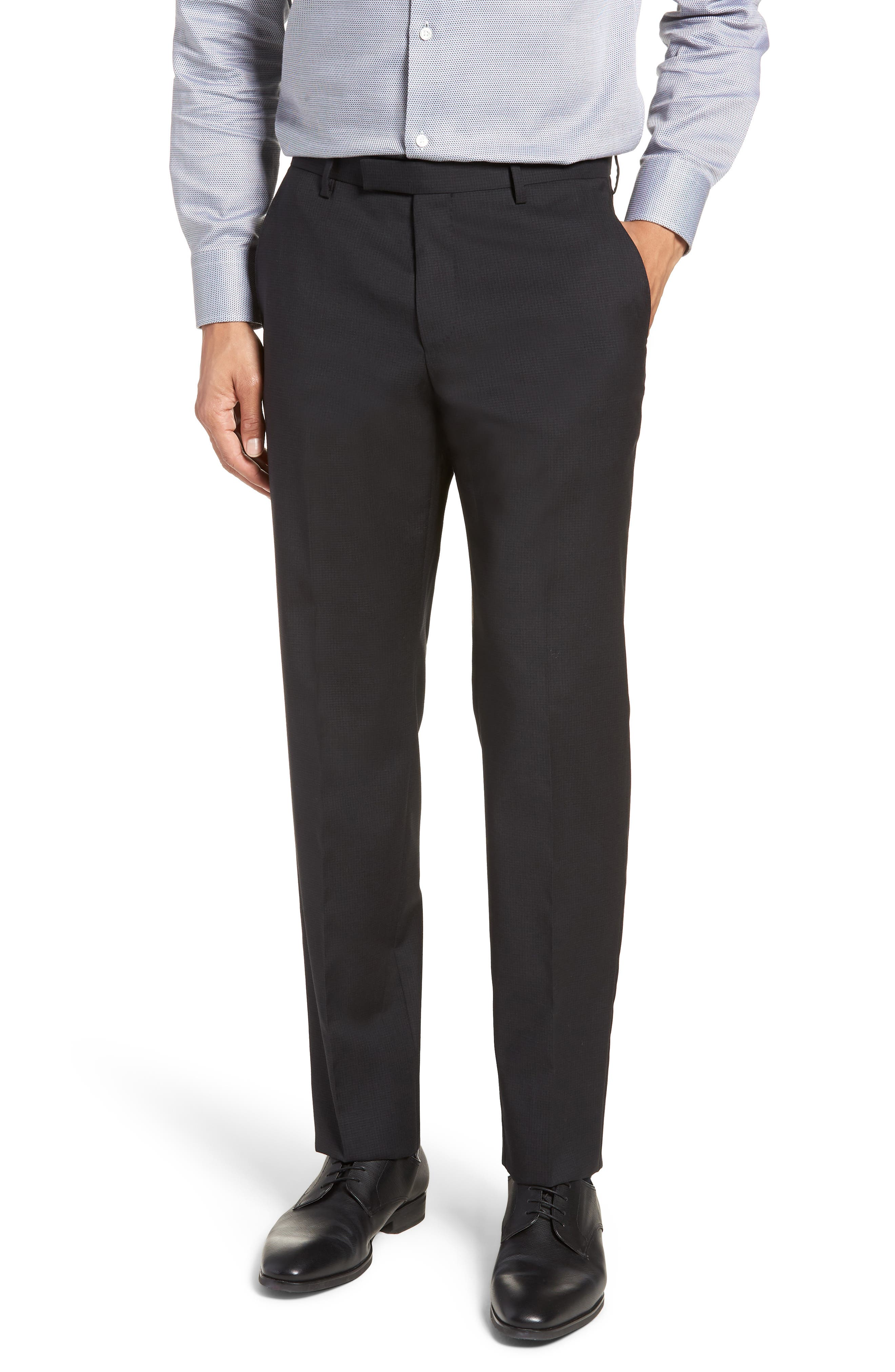 Leenon Flat Front Check Wool Trousers,                         Main,                         color, BLACK