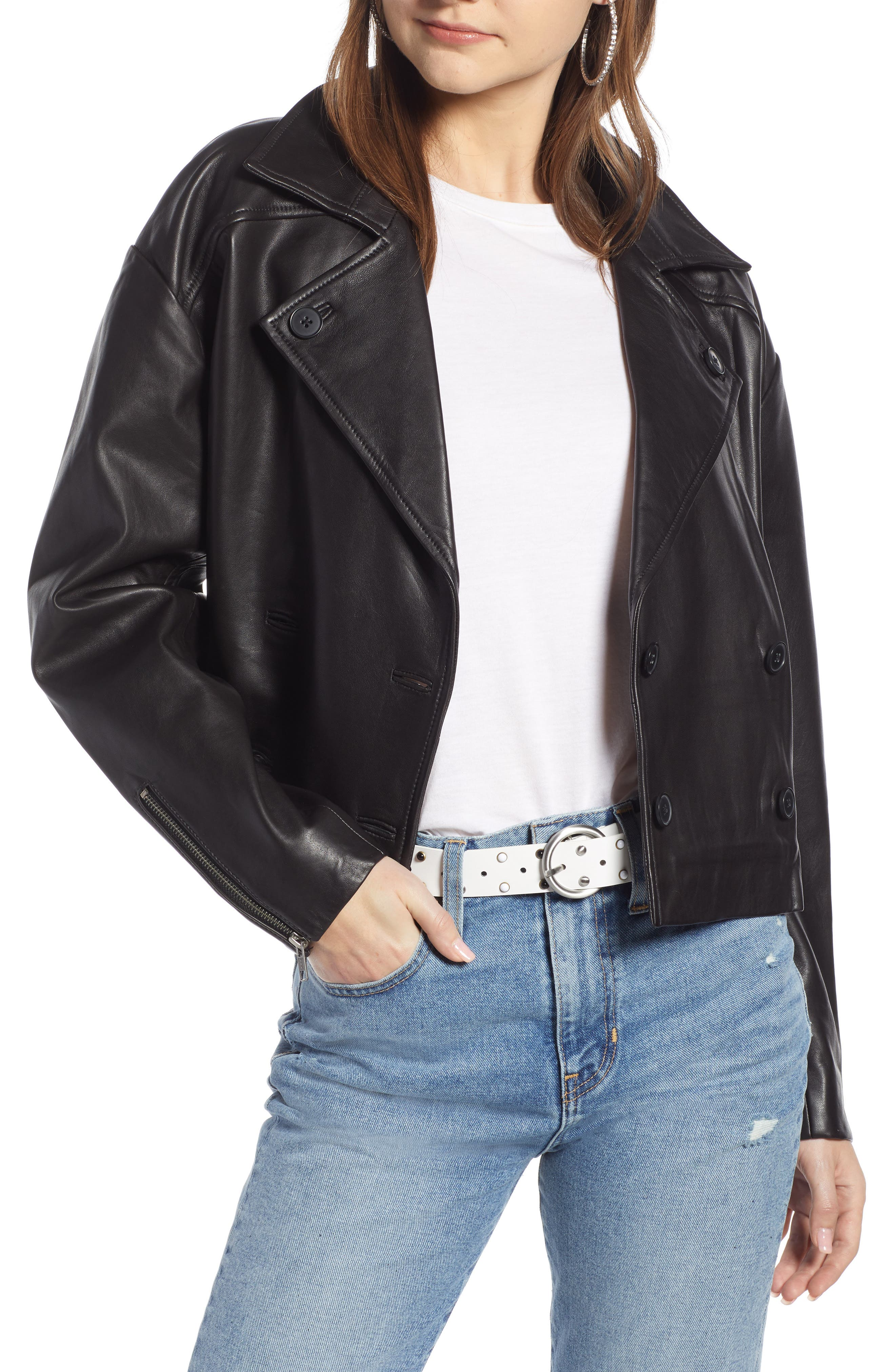 Shrunken Leather Jacket,                             Main thumbnail 1, color,                             BLACK
