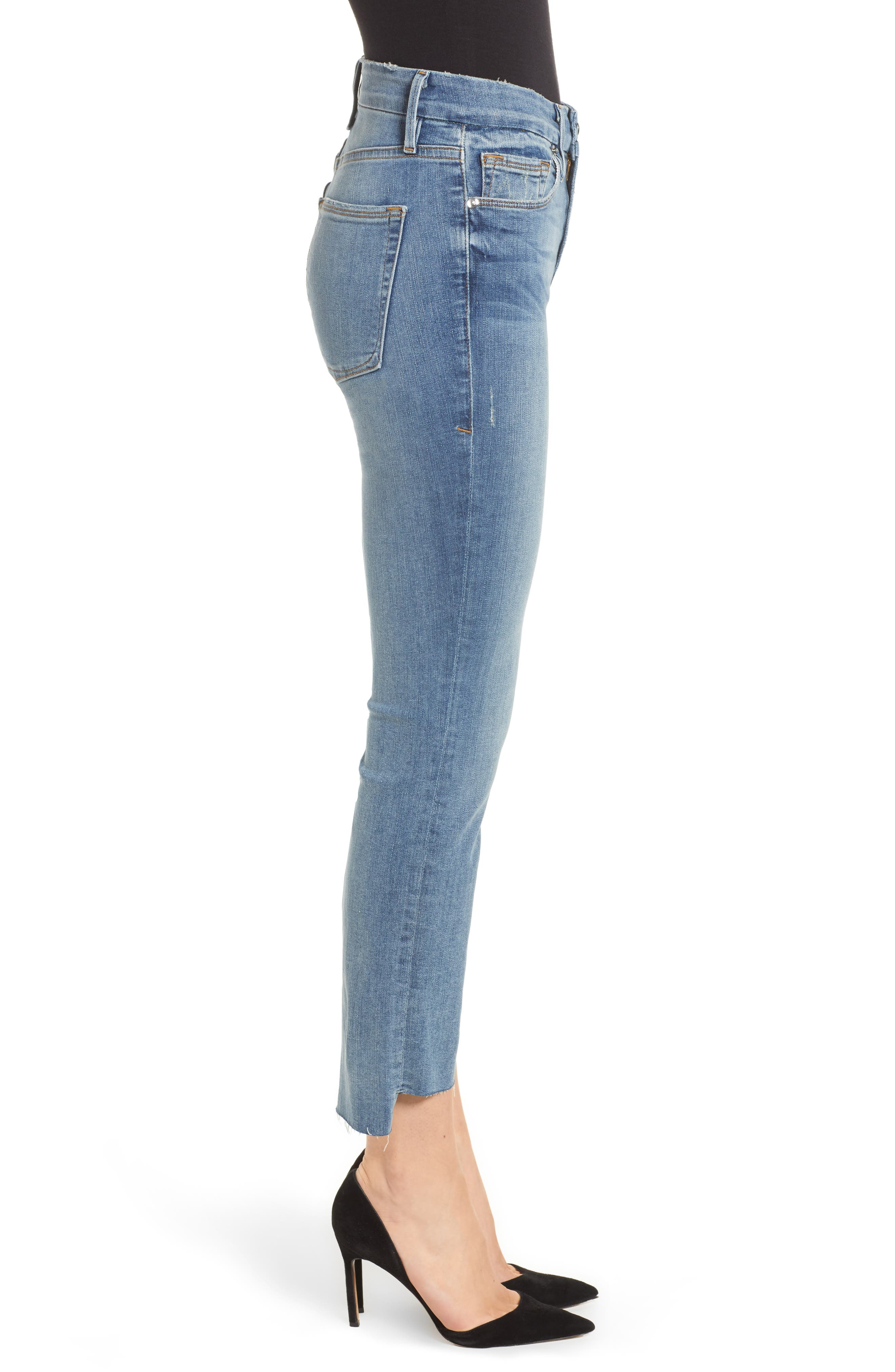 Good Straight Raw Hem Straight Leg Jeans,                             Alternate thumbnail 3, color,                             401