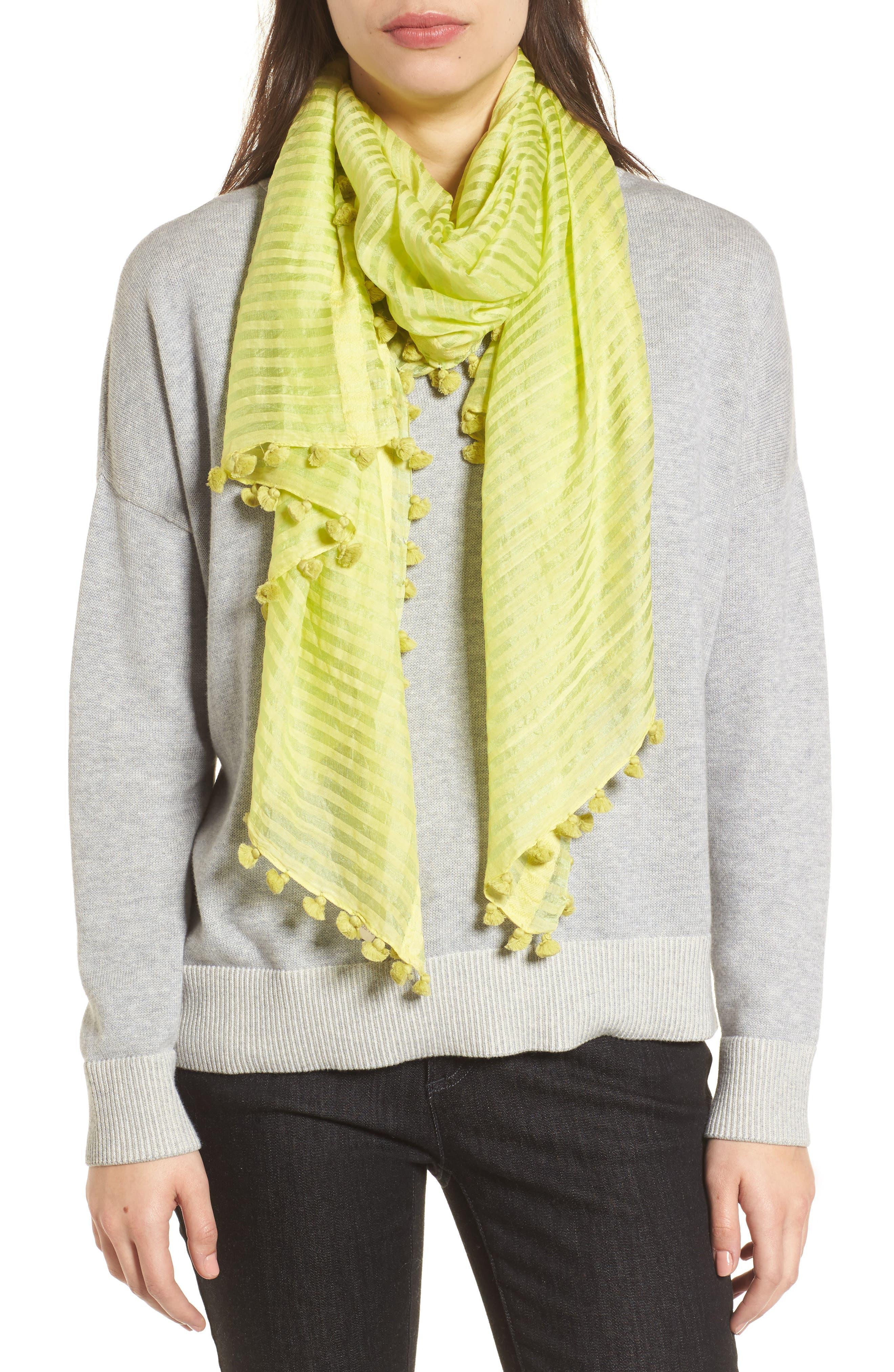 Stripe Cotton & Silk Scarf,                         Main,                         color, 361