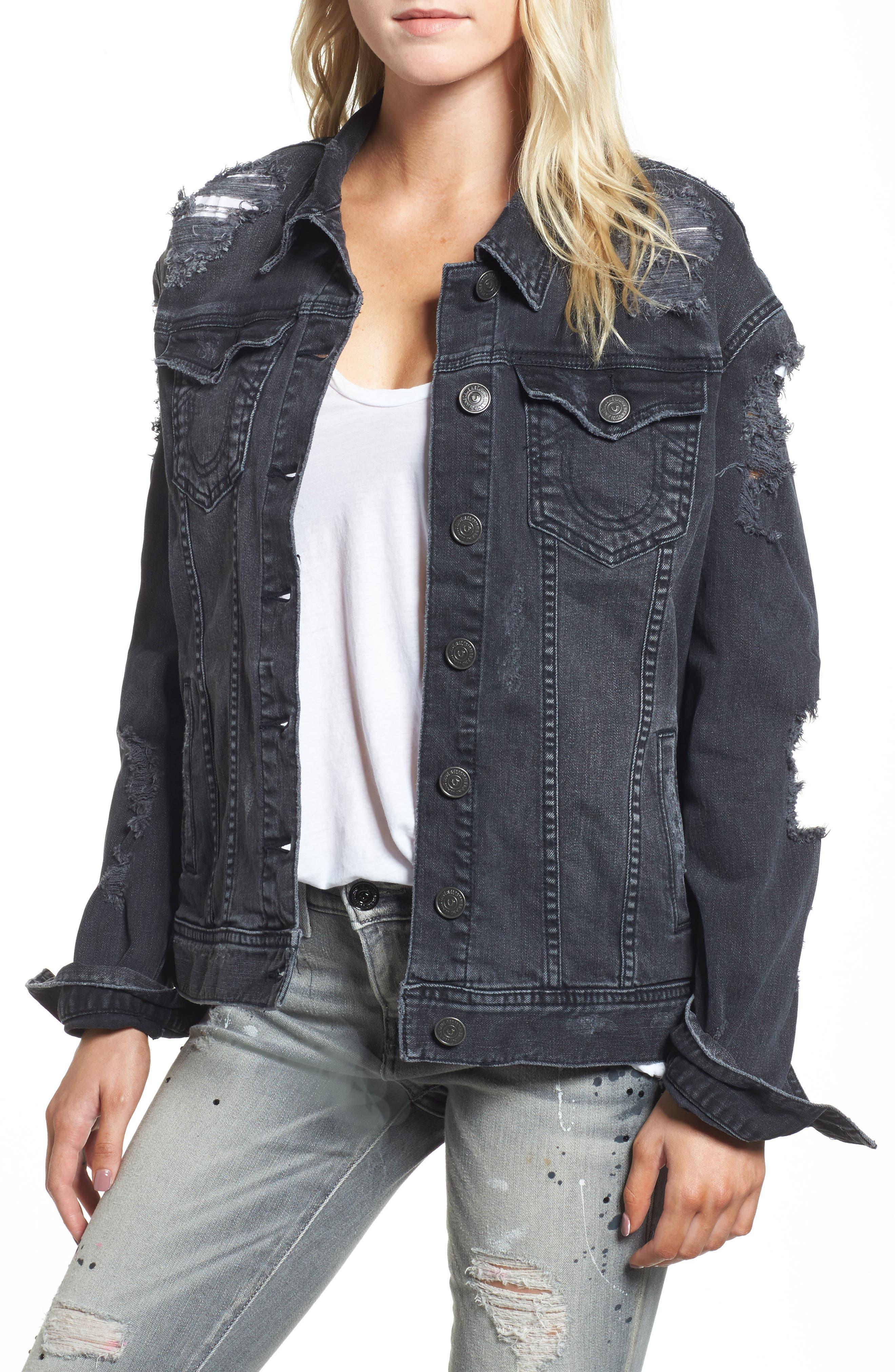 True Religion Danni Destroyed Denim Jacket,                         Main,                         color,