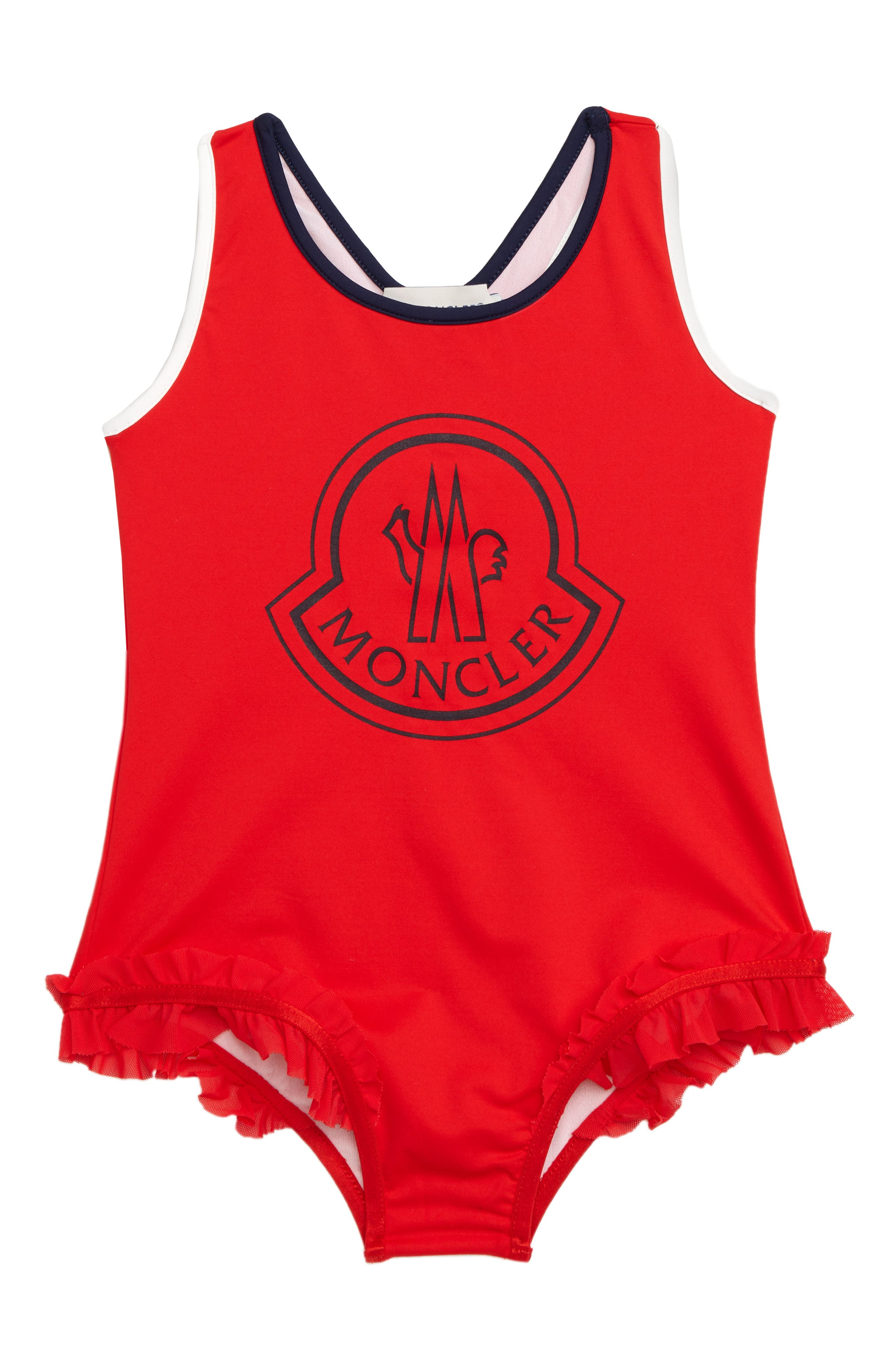 One-Piece Swimsuit, Main, color, 455 RED