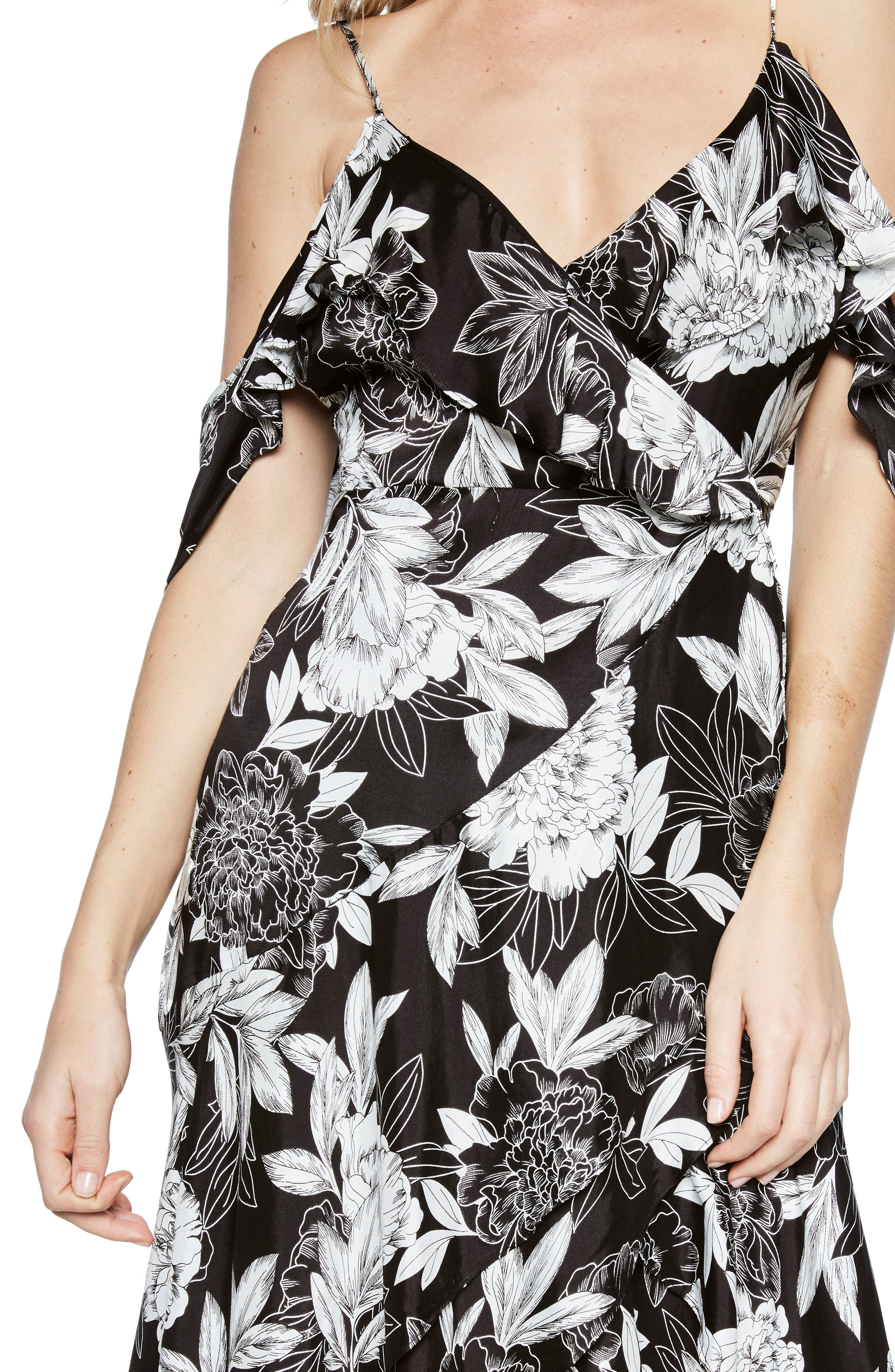 Frankie Frill Floral Dress,                             Alternate thumbnail 4, color,                             001