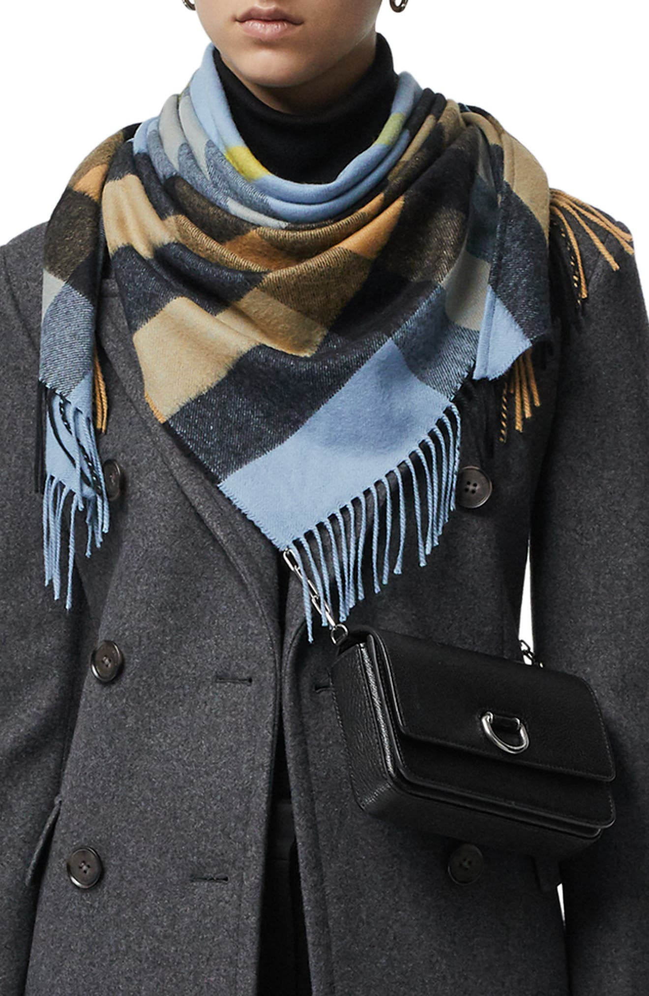 BURBERRY,                             Mega Check Cashmere Scarf,                             Main thumbnail 1, color,                             PALE CARBON BLUE