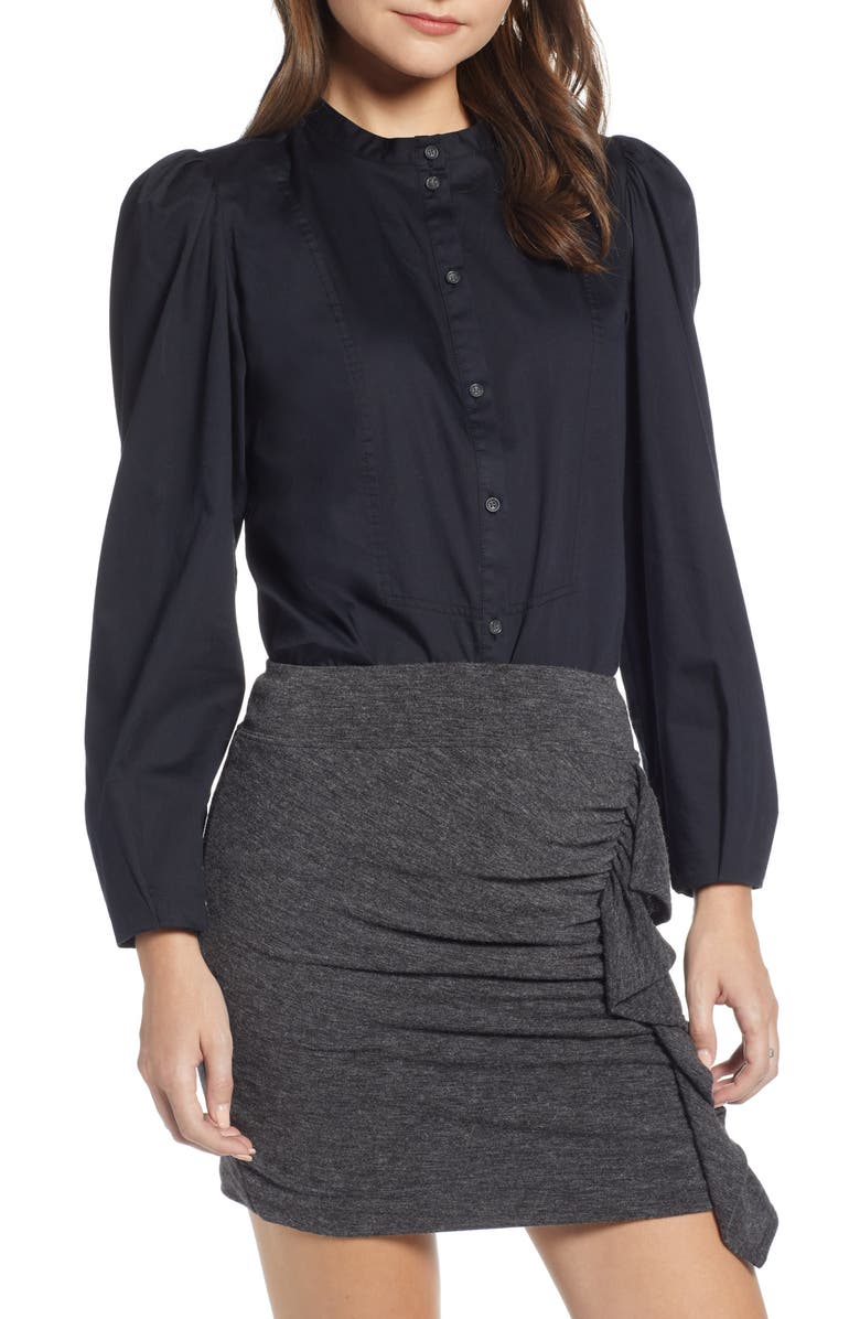 Something Navy Stand Collar Button Through Shirt (Nordstrom Exclusive) | Nordstrom