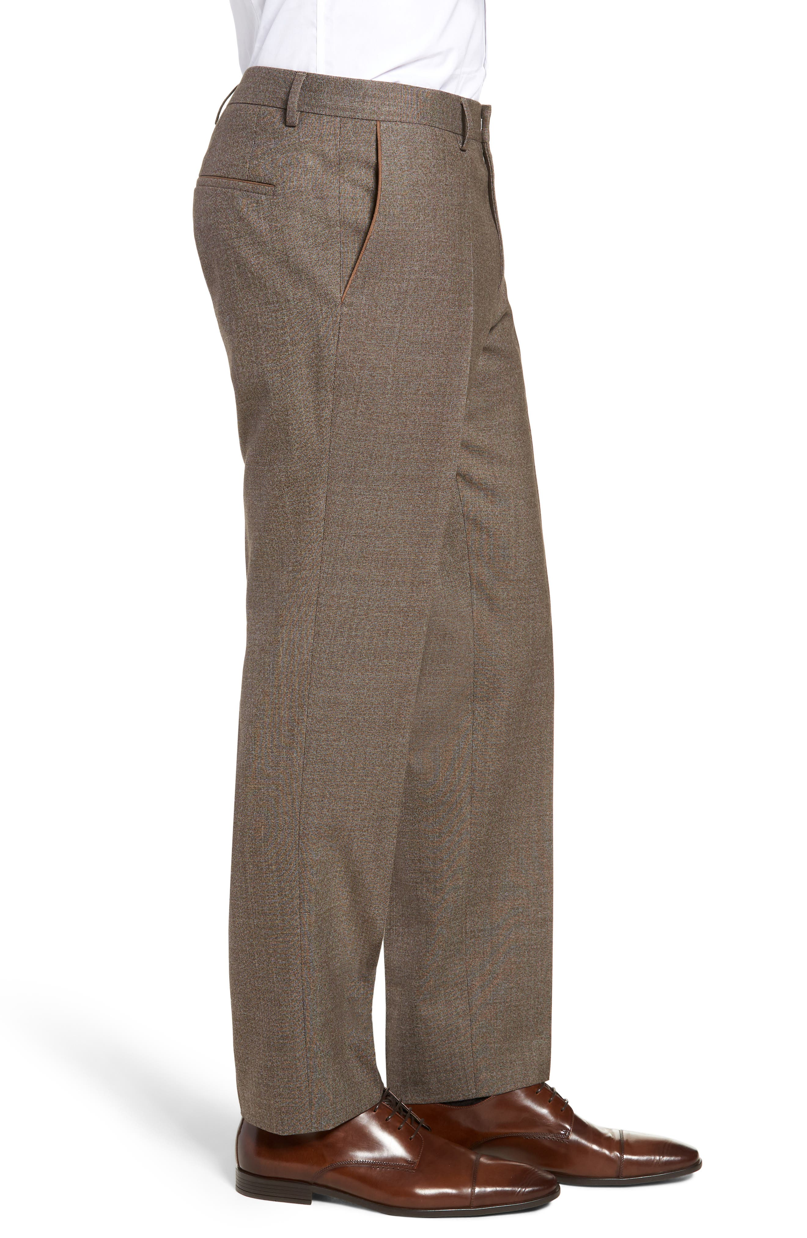 Giro Flat Front Solid Wool & Cotton Trousers,                             Alternate thumbnail 3, color,                             LIGHT/ PASTEL BROWN
