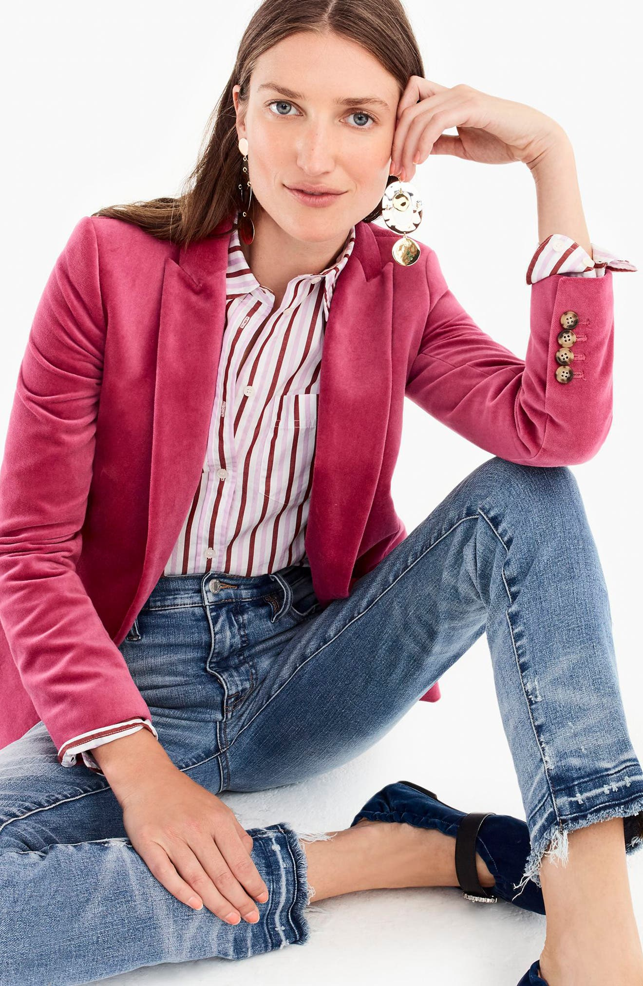 Parke Velvet Blazer,                             Alternate thumbnail 14, color,                             DRIED ROSE