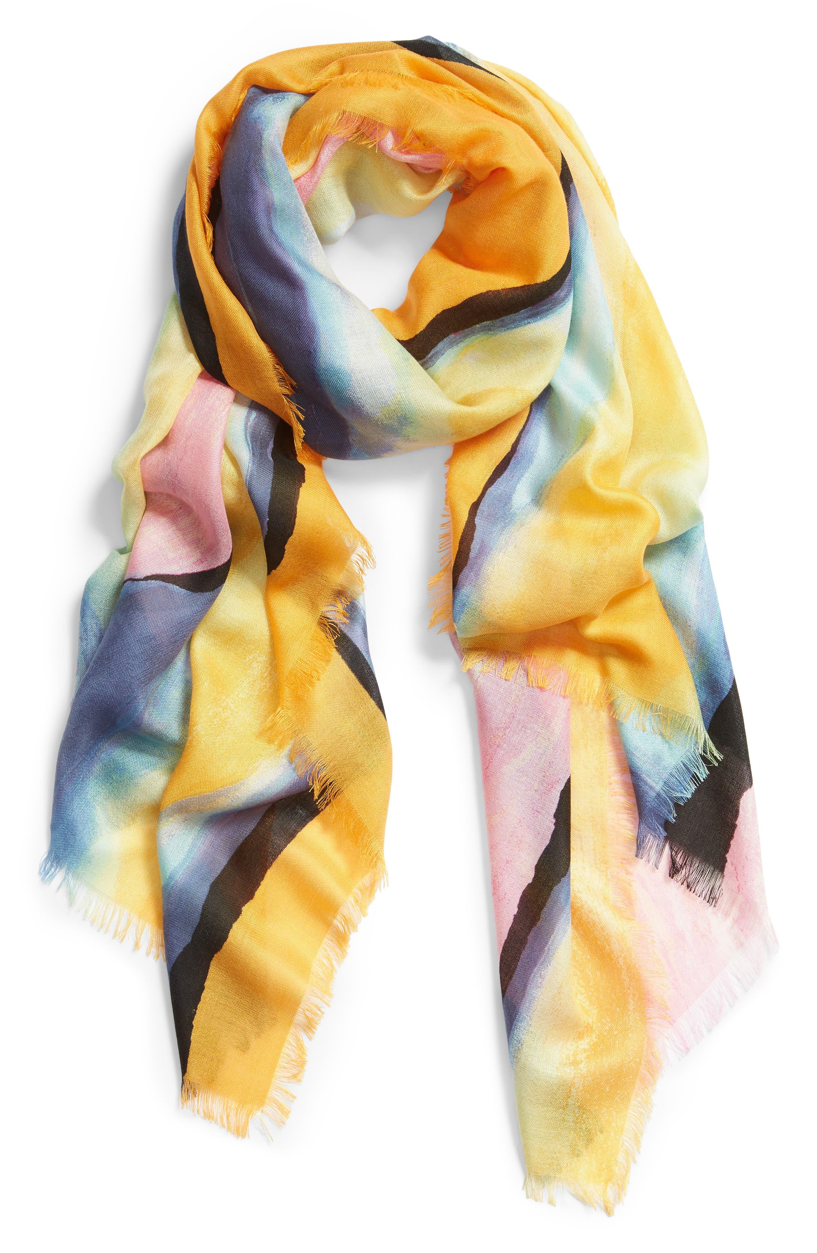 NORDSTROM,                             Eyelash Trim Print Cashmere & Silk Wrap,                             Alternate thumbnail 2, color,                             PINK PAINT STRIPE PRINT