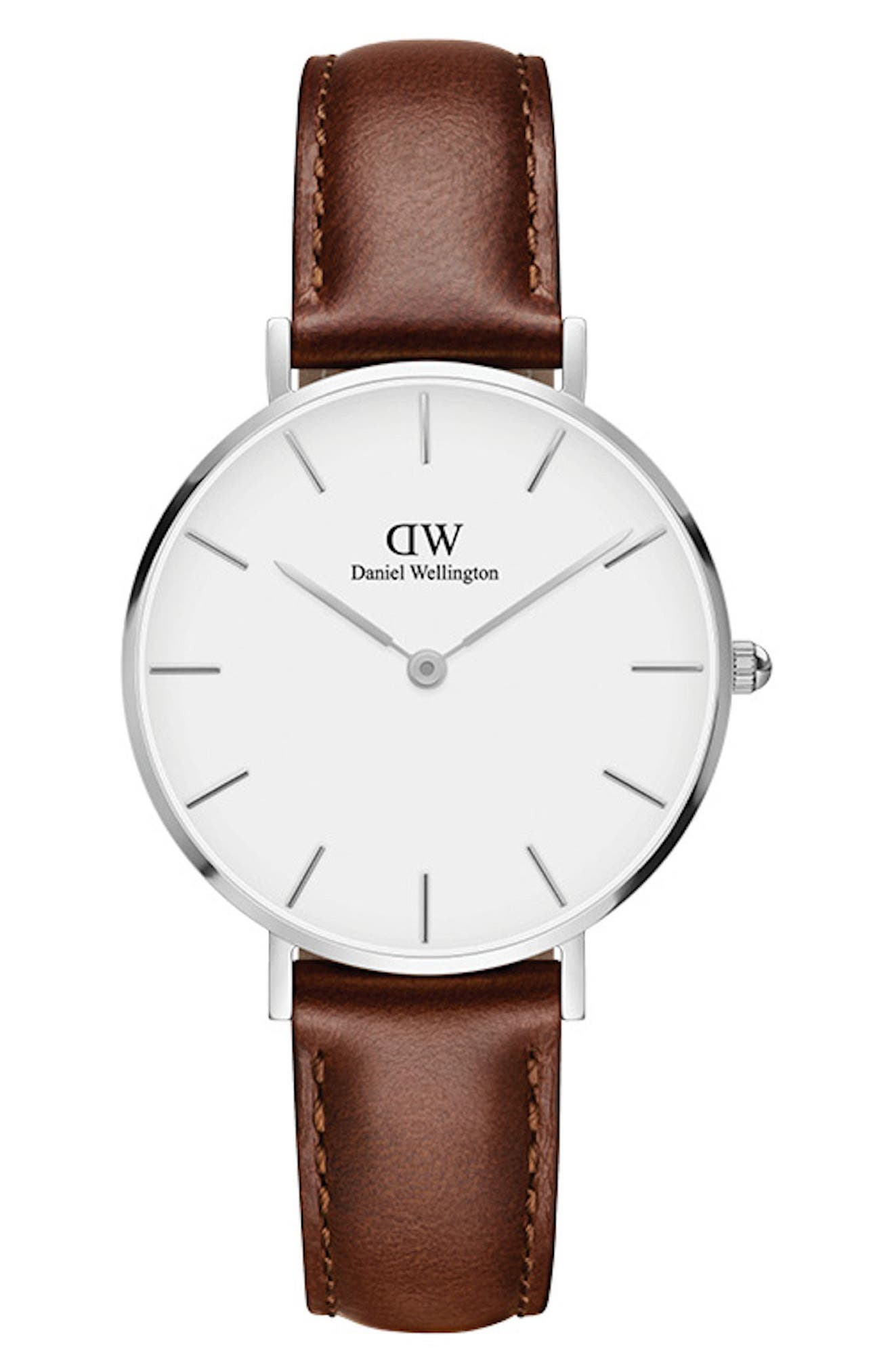 Classic Petite Leather Strap Watch, 32mm,                         Main,                         color, BROWN/ WHITE/ SILVER