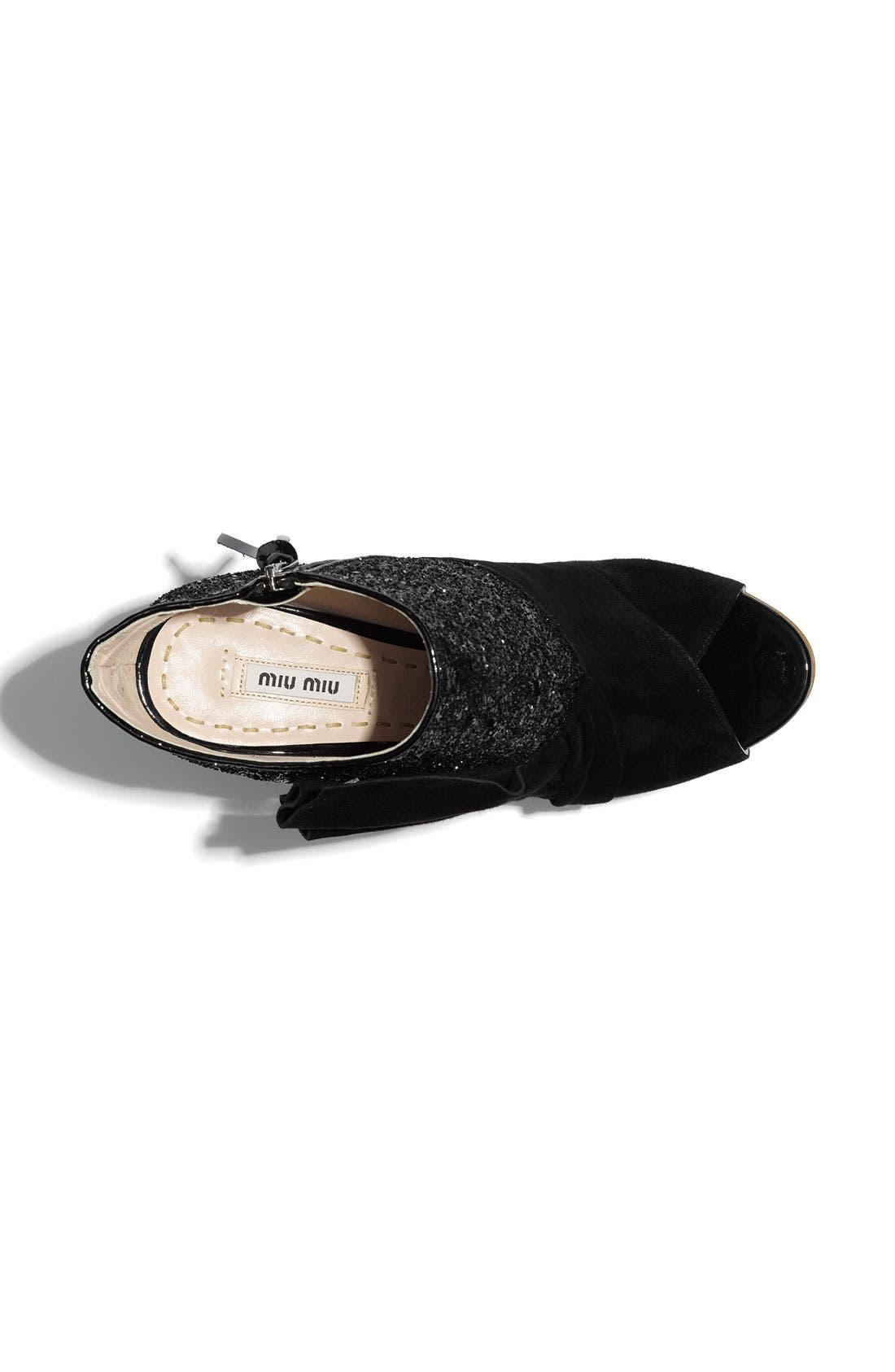 Open Toe Glitter Ankle Boot,                             Alternate thumbnail 3, color,                             001
