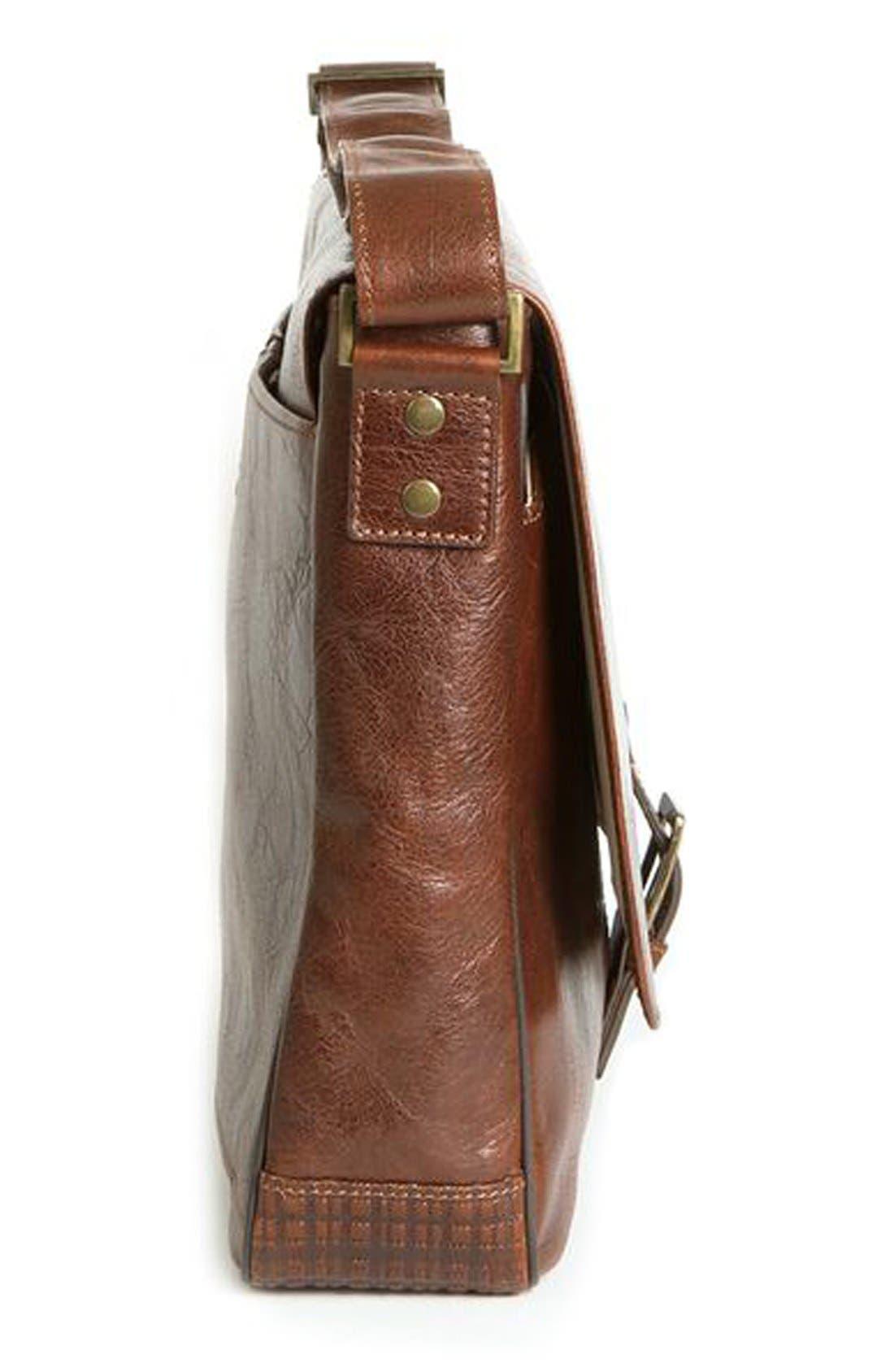 BOCONI,                             'Becker' Leather Messenger Bag,                             Alternate thumbnail 4, color,                             WHISKEY