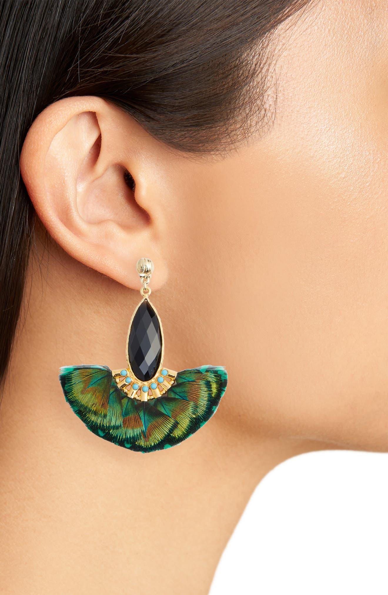 Mini Serti Paon Feathered Drop Earrings,                             Alternate thumbnail 2, color,                             KHAKI GREEN