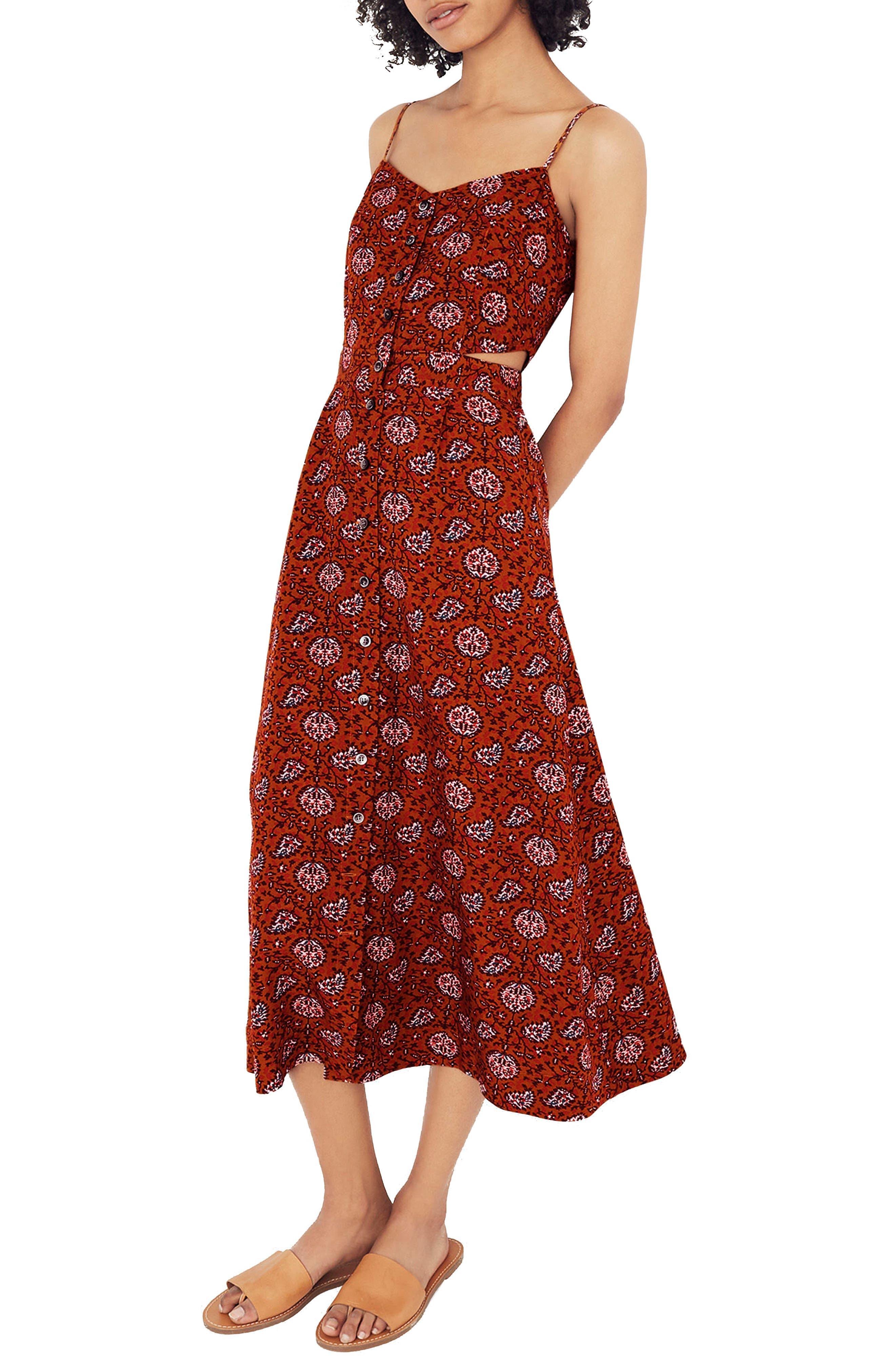 MADEWELL,                             Warm Paisley Cutout Camisole Midi Dress,                             Main thumbnail 1, color,                             200