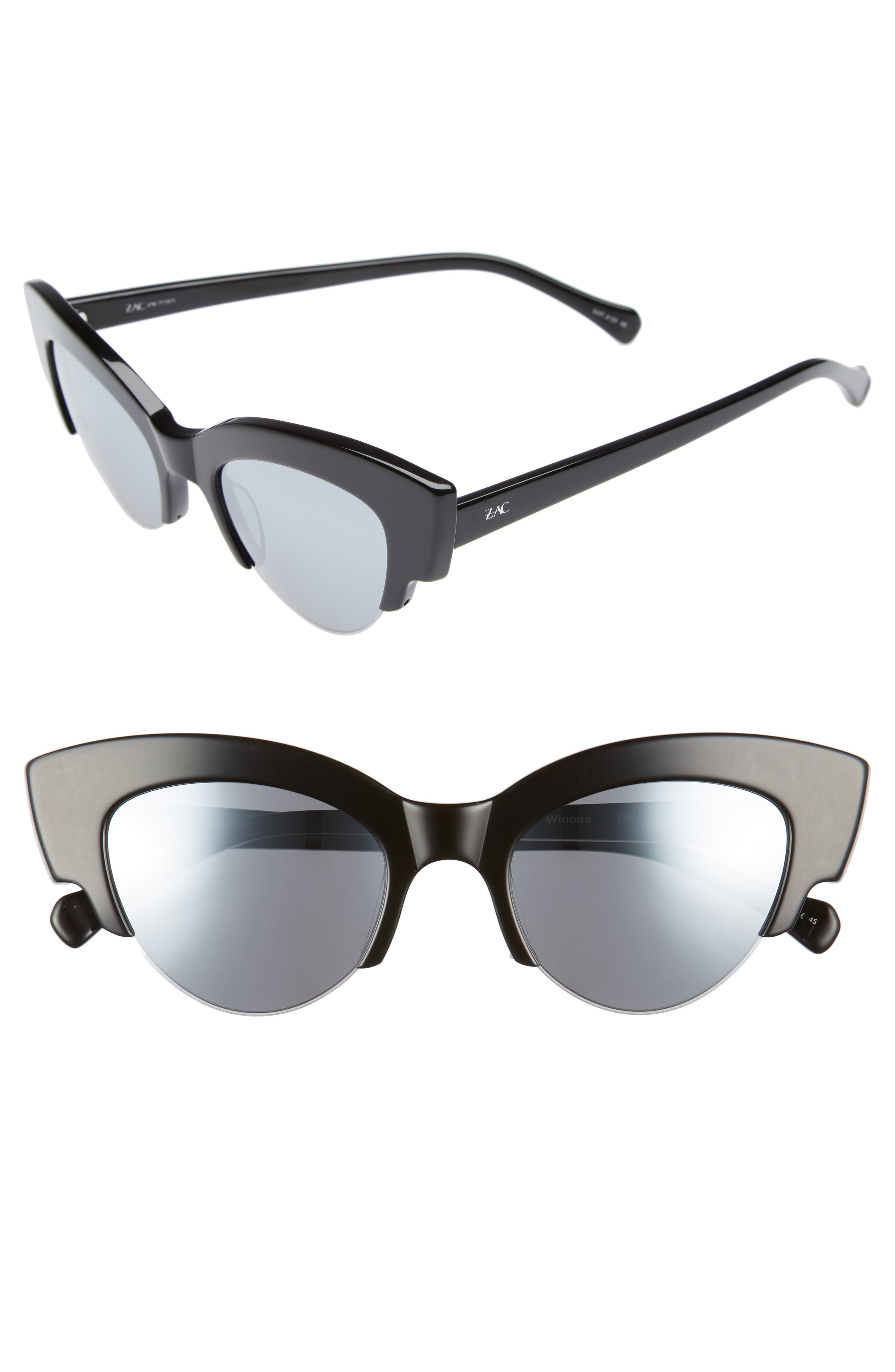 ZAC ZAC POSEN,                             Winona Cat Eye Sunglasses,                             Main thumbnail 1, color,                             BLACK/ SILVER