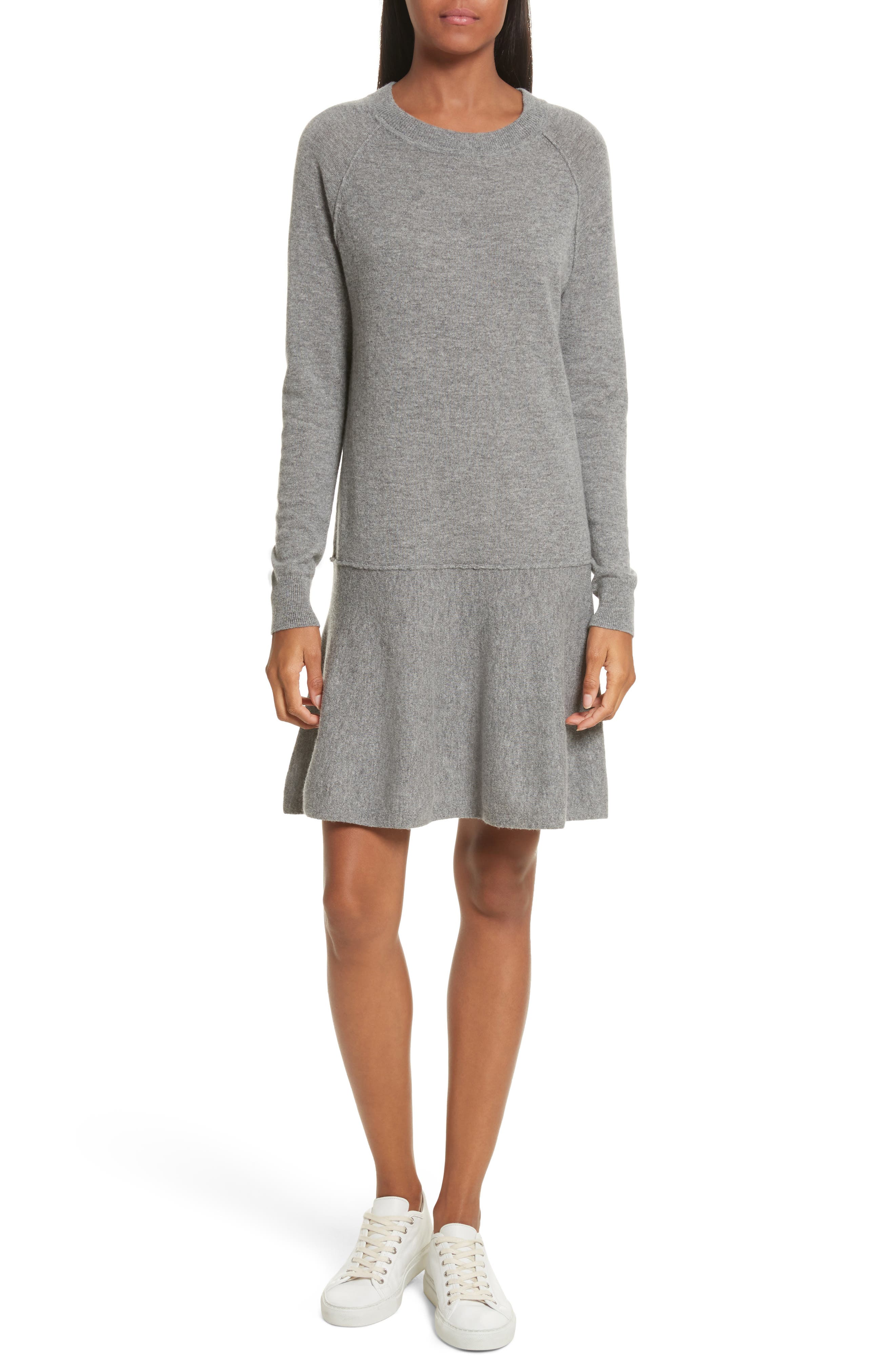 Cashmere Drop Waist Sweater Dress,                         Main,                         color, 027