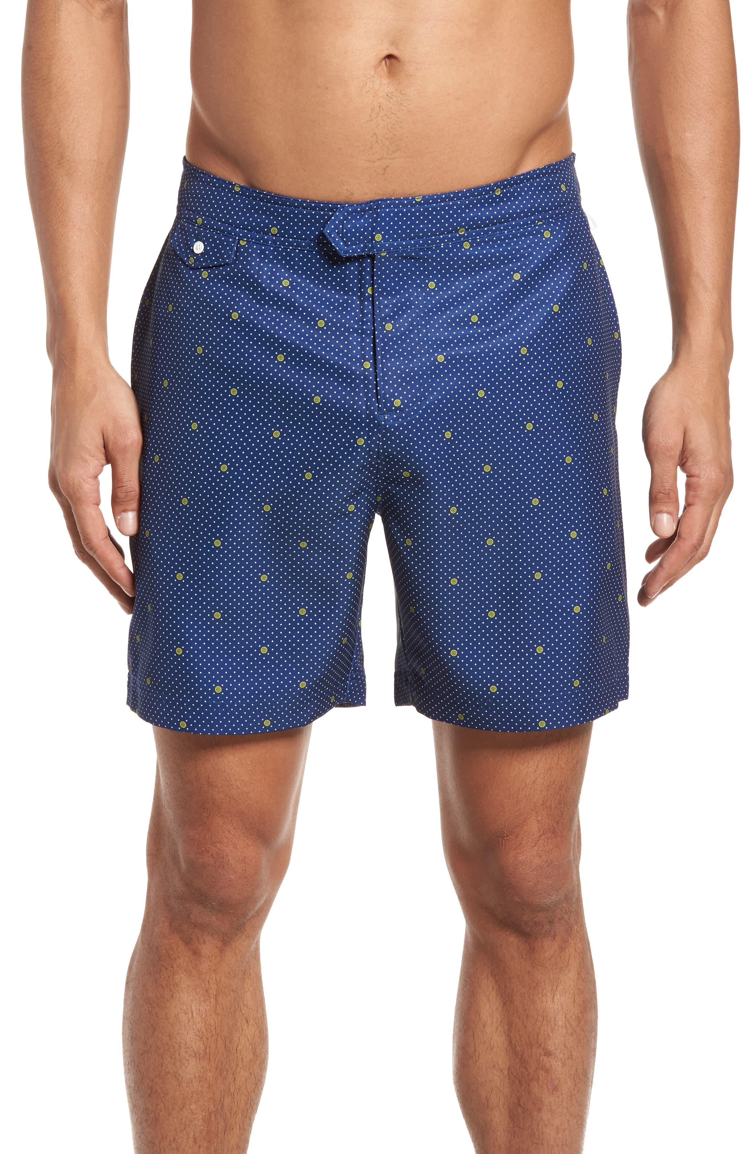 Polka Dot Lemon Volley Board Shorts,                             Main thumbnail 1, color,                             469
