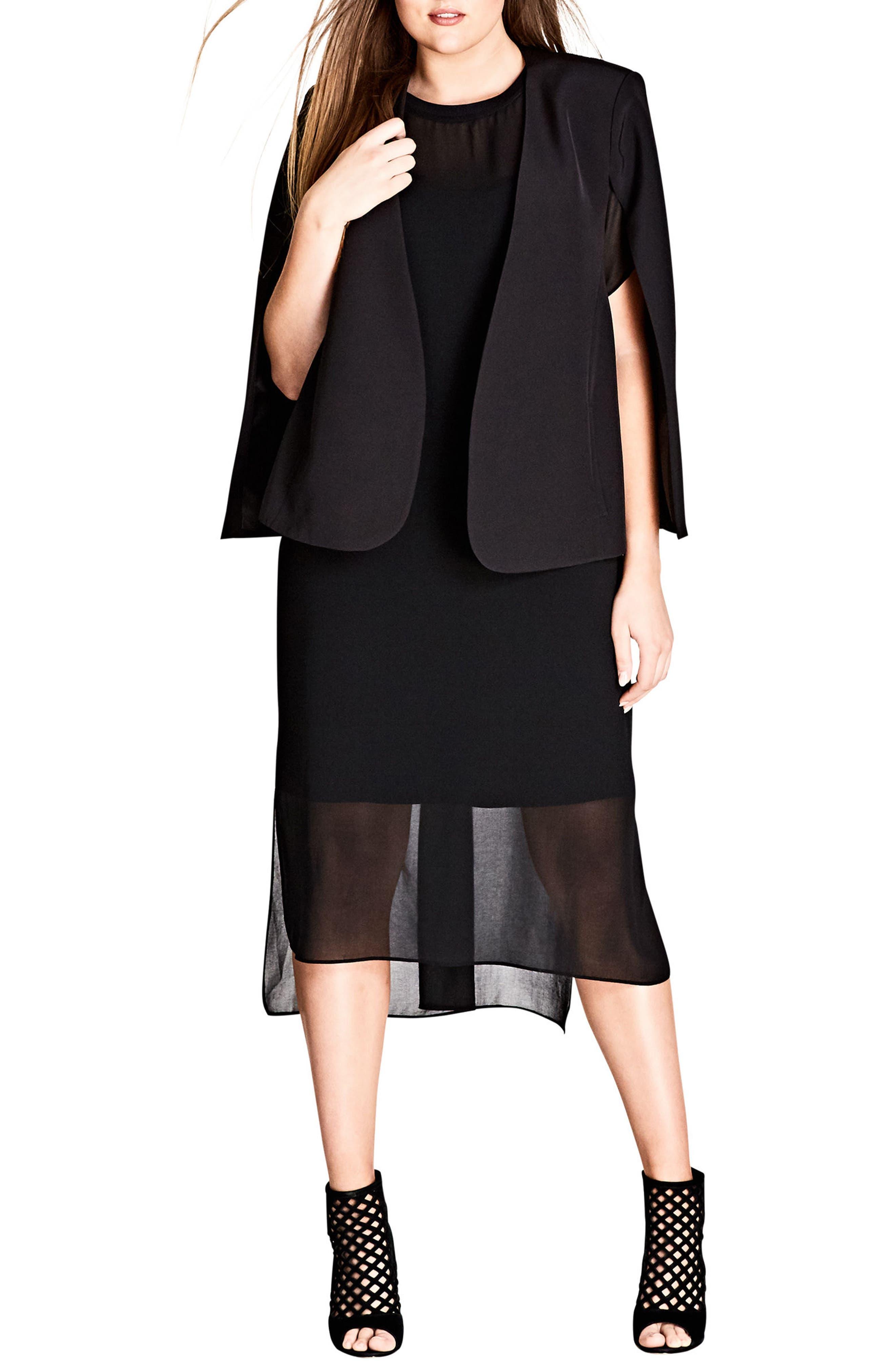 Cool Sheer Midi Dress,                             Main thumbnail 1, color,                             001