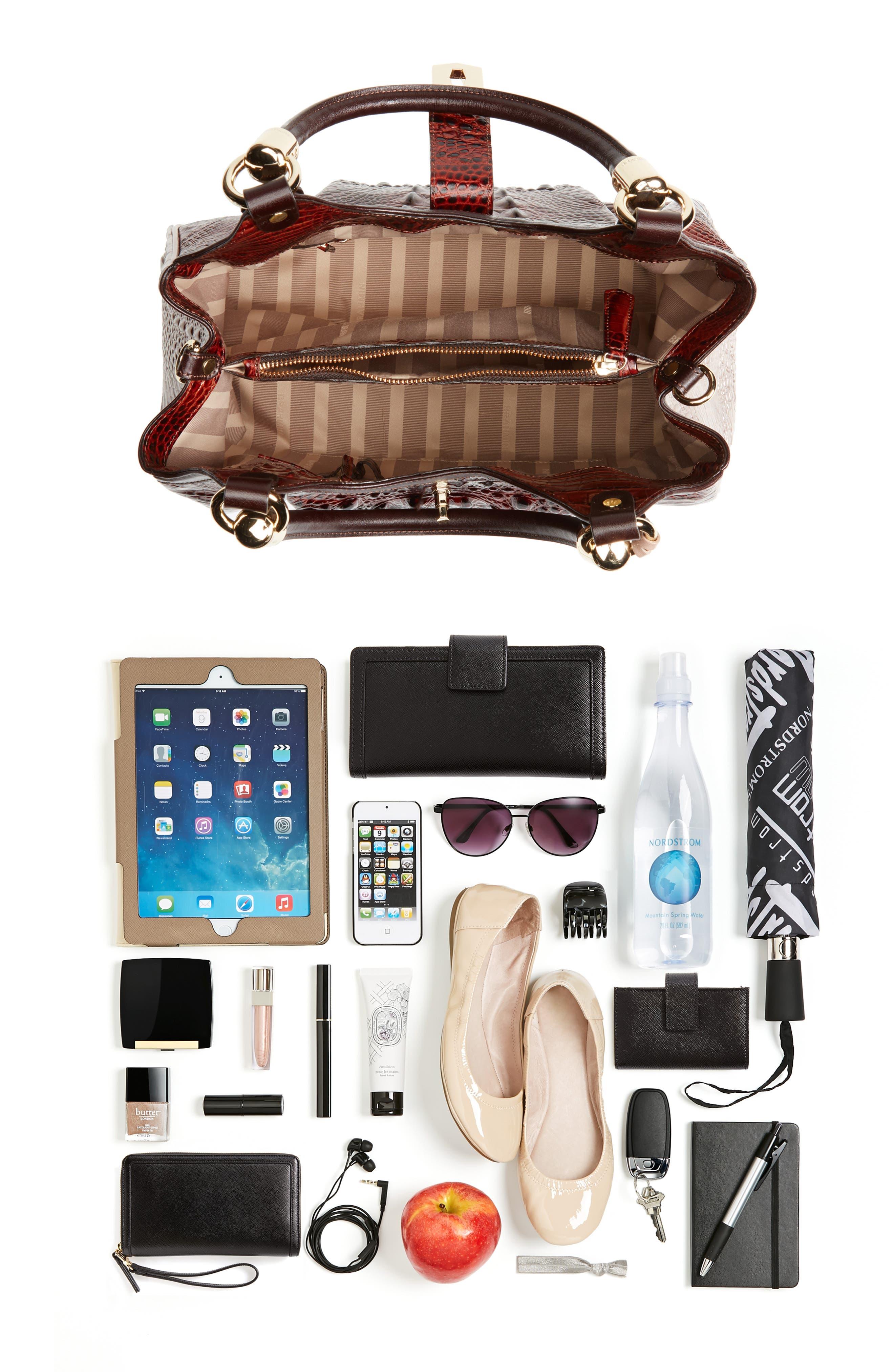 Elisa Croc Embossed Leather Shoulder Bag,                             Alternate thumbnail 7, color,                             215
