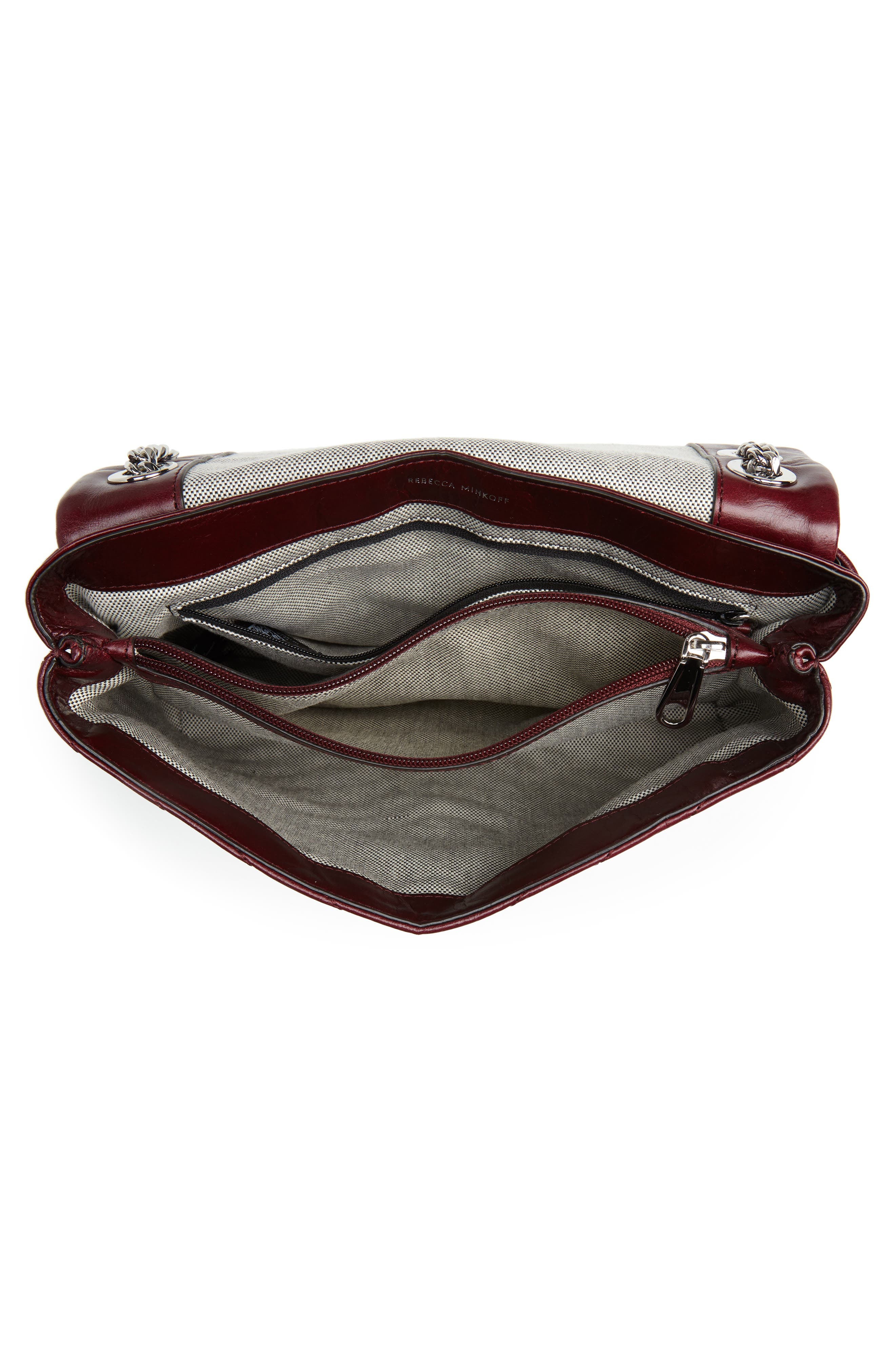 Edie Flap Front Leather Shoulder Bag,                             Alternate thumbnail 4, color,                             BORDEAUX